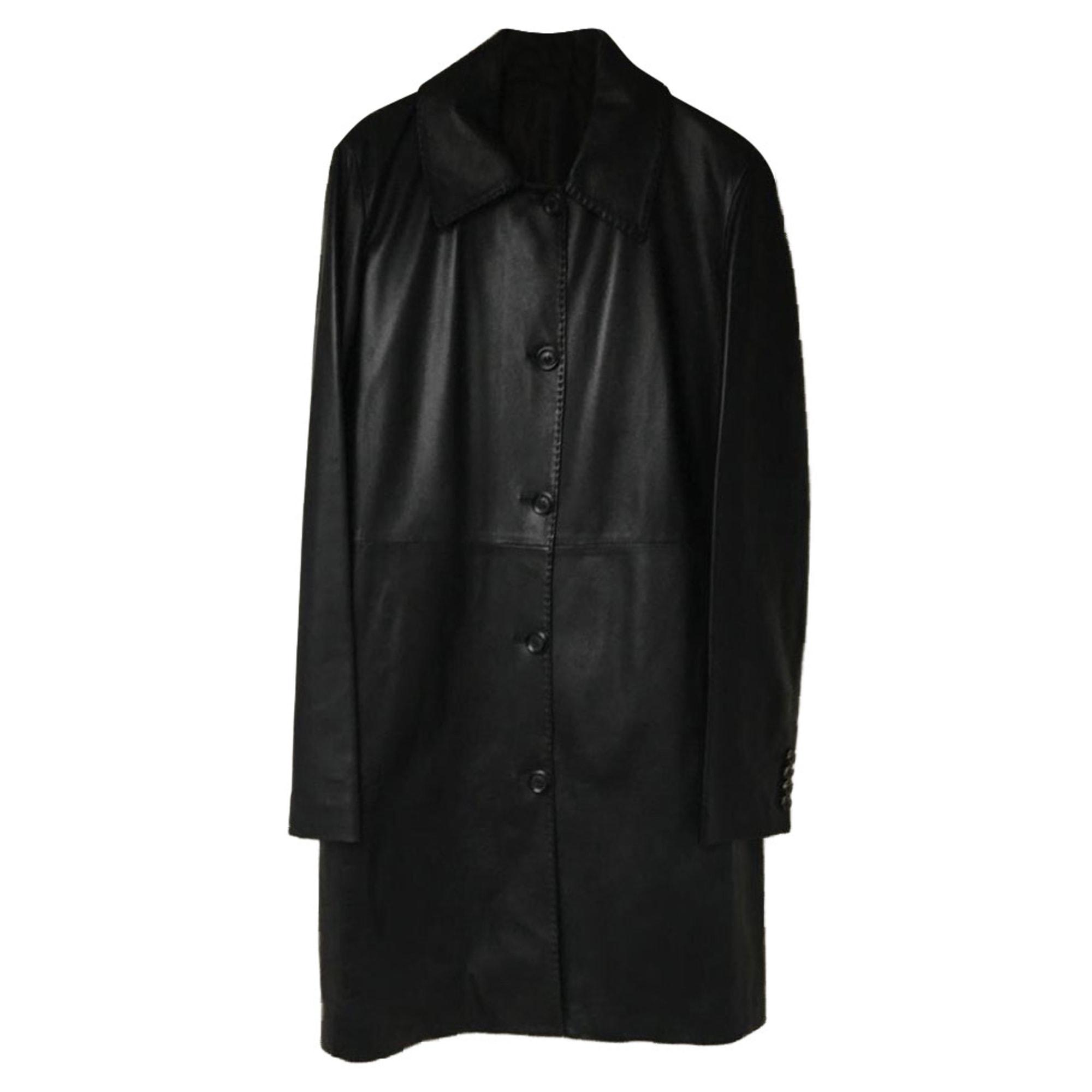 Manteau en cuir FRATELLI ROSSETTI Noir