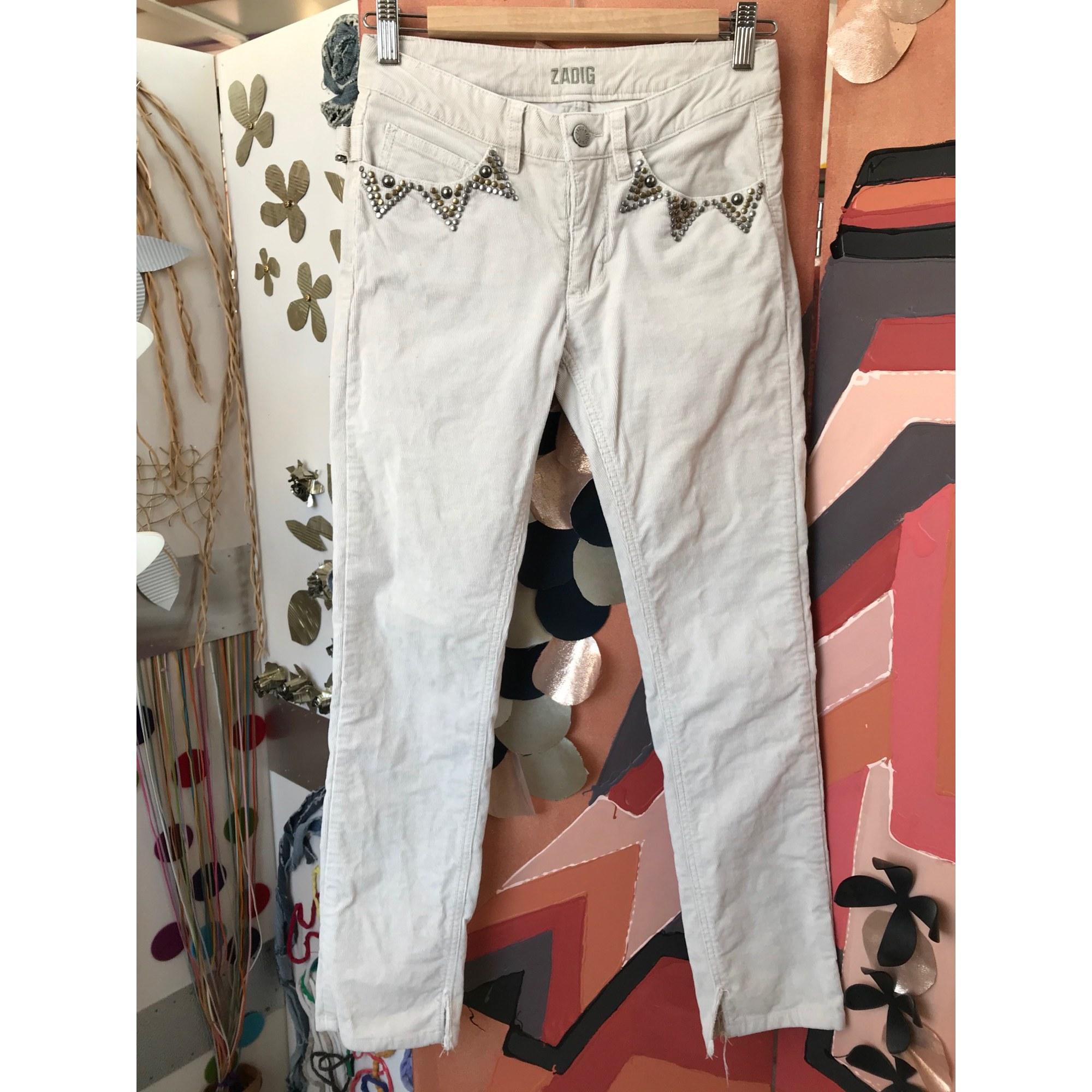 Pantalon slim, cigarette ZADIG & VOLTAIRE Blanc, blanc cassé, écru