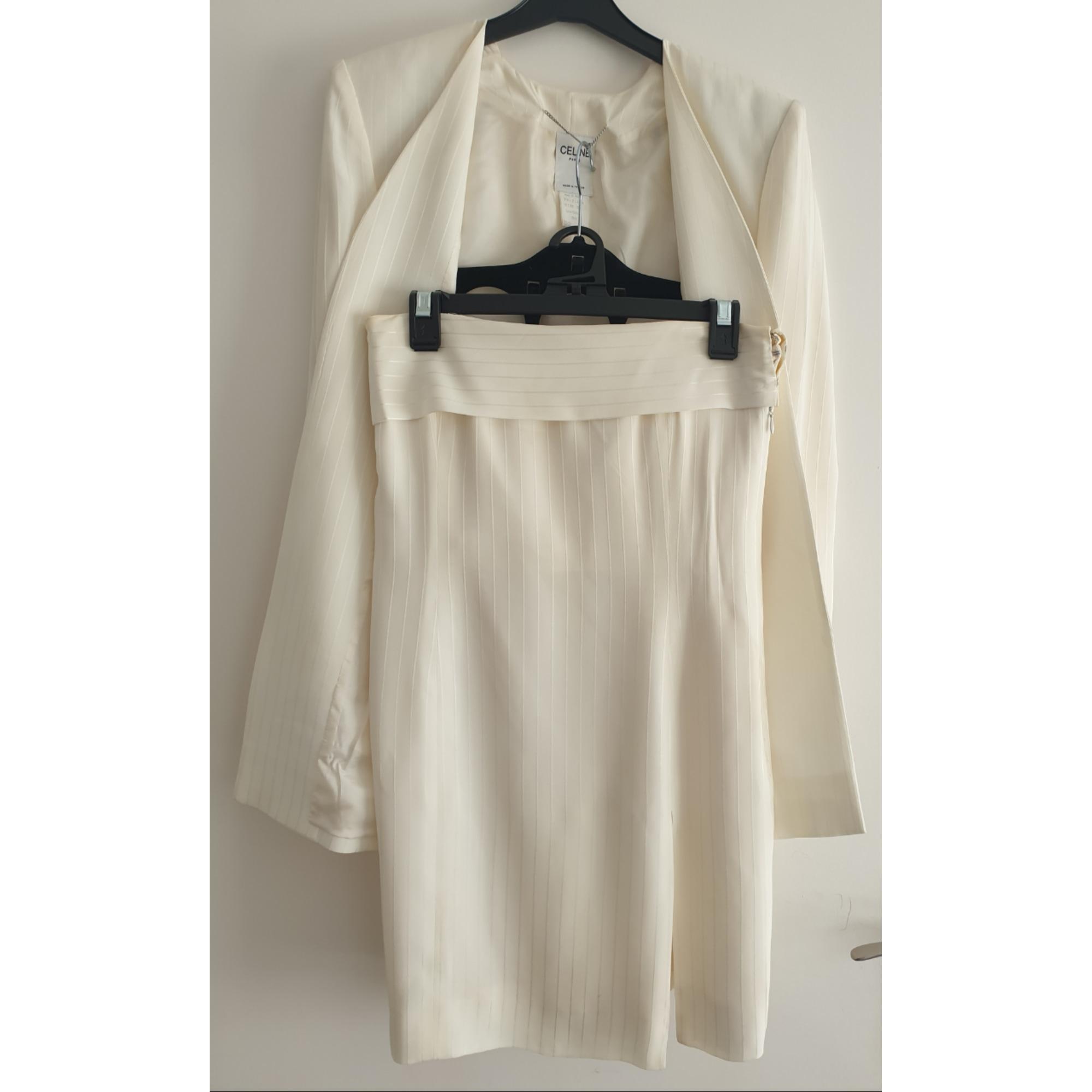 Tailleur robe CÉLINE Blanc, blanc cassé, écru