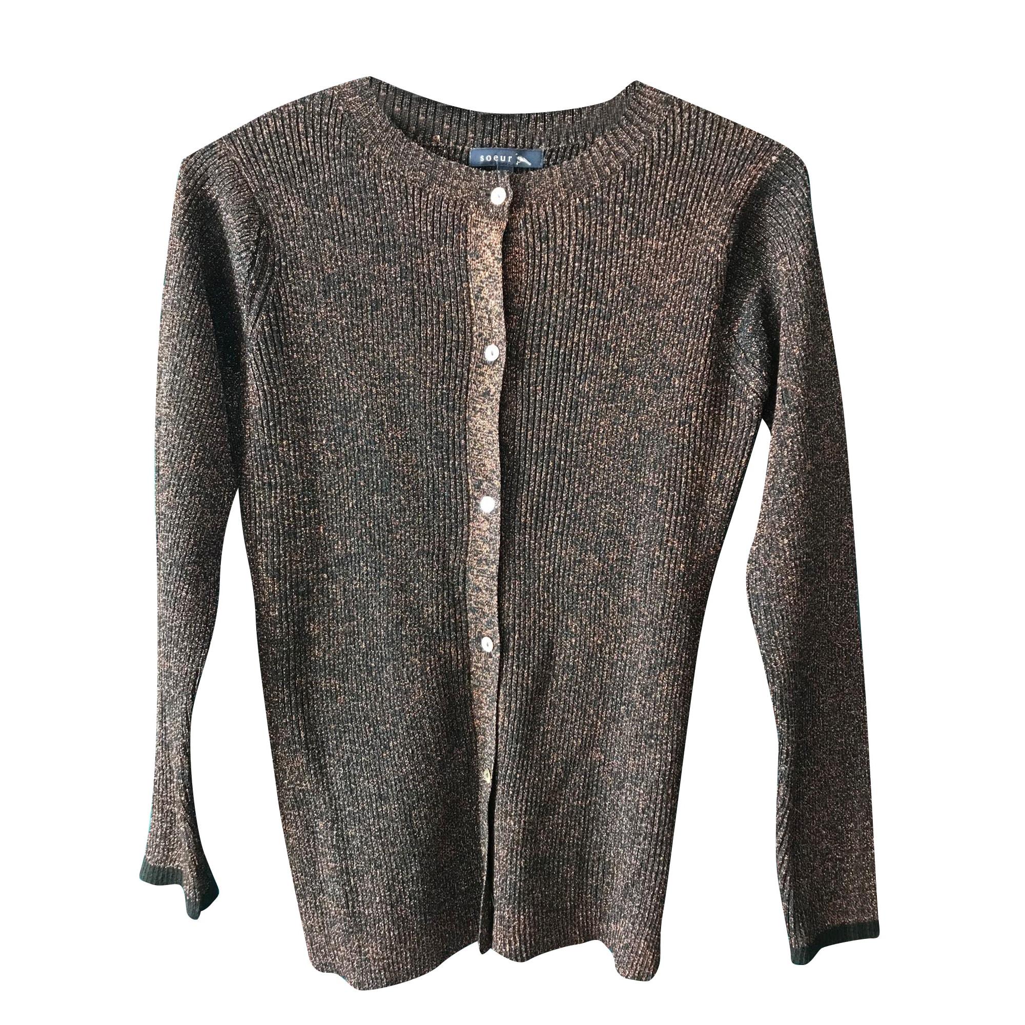 Gilet, cardigan SOEUR Noir et lurex bronze