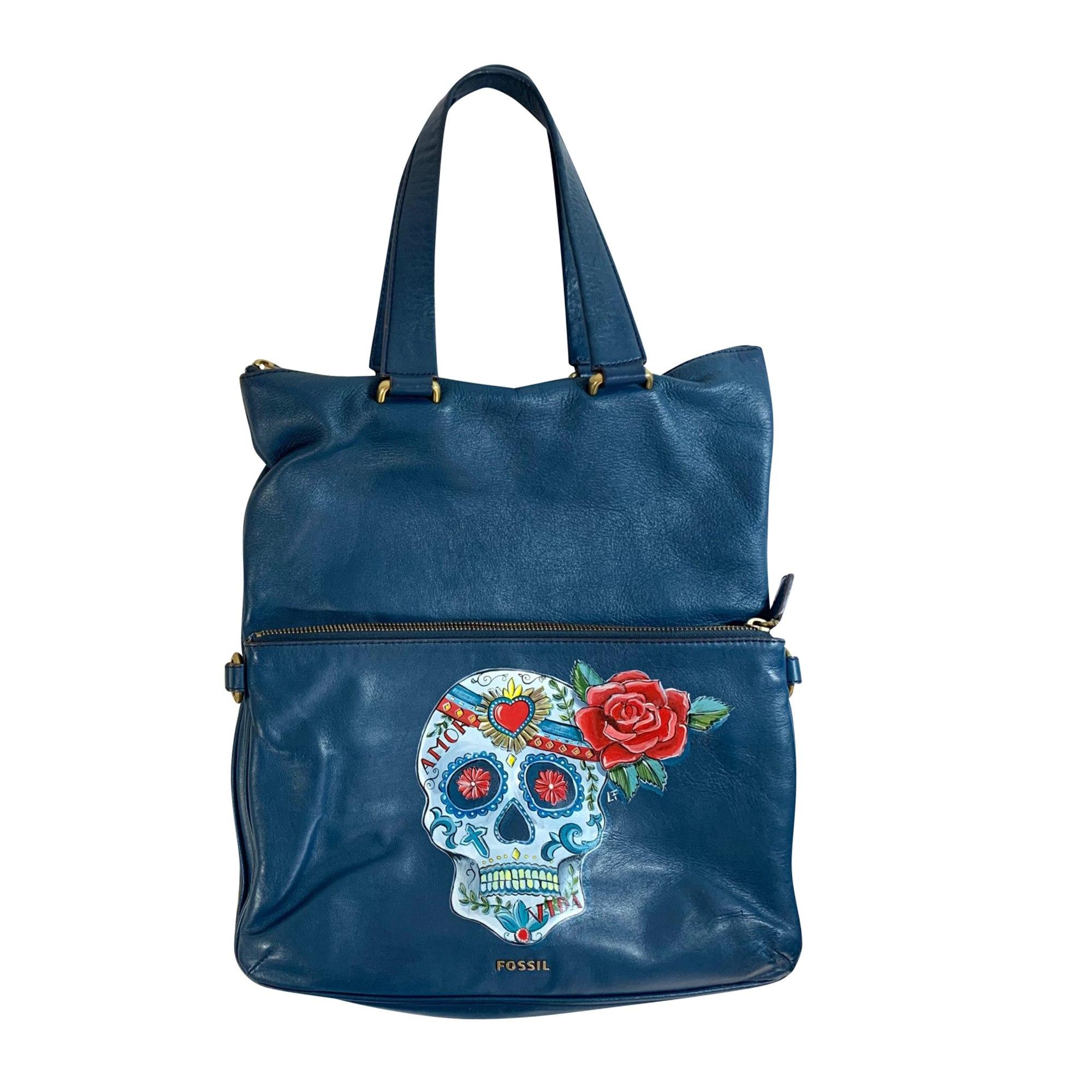 Lederhandtasche FOSSIL Blau, marineblau, türkisblau
