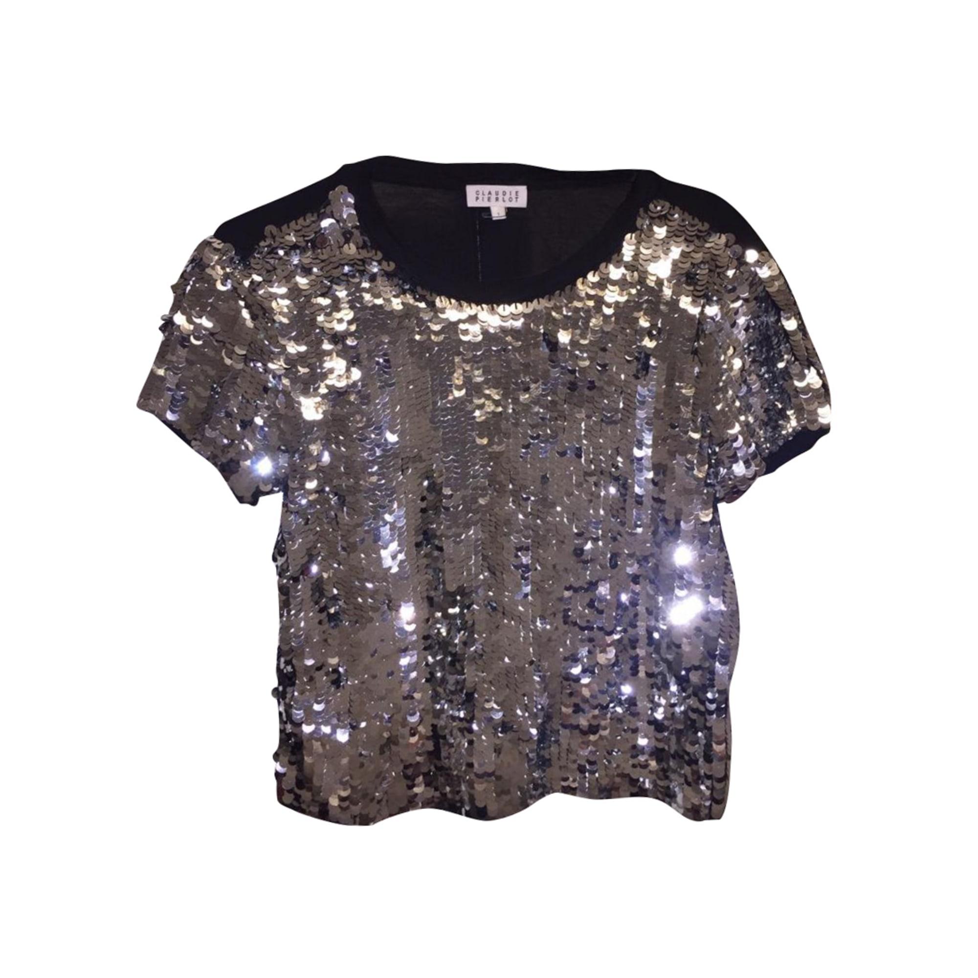 Top, tee-shirt CLAUDIE PIERLOT Argenté, acier