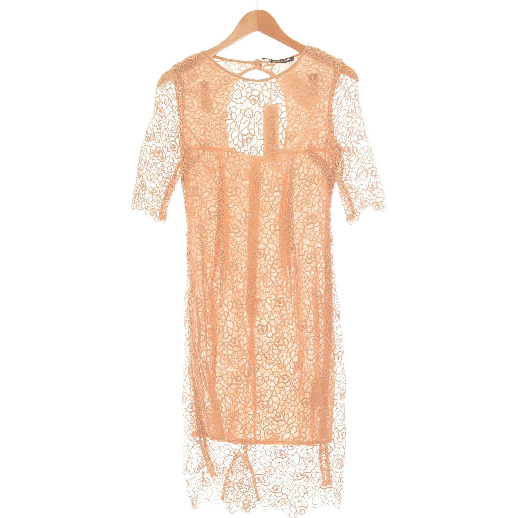 Robe mi-longue LAURA CLÉMENT Marron
