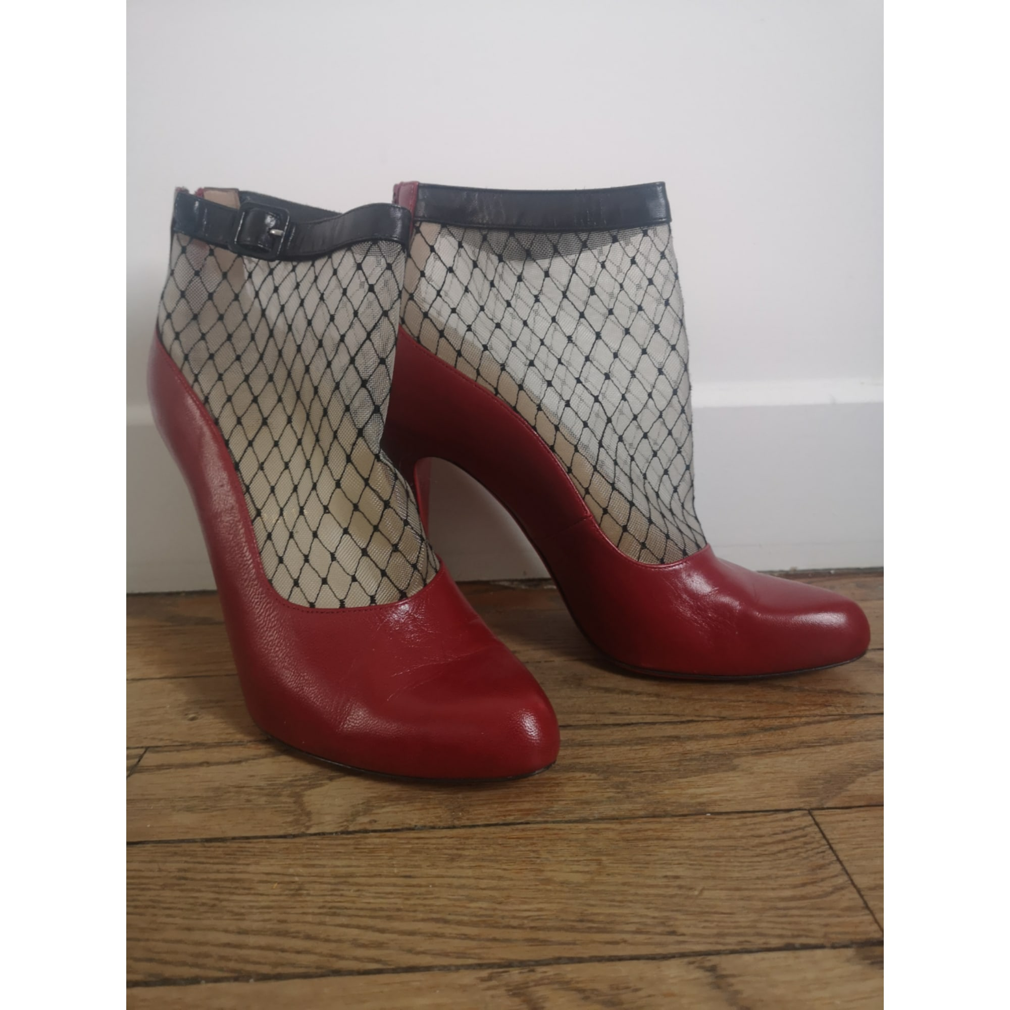 High Heel Ankle Boots CHRISTIAN LOUBOUTIN Red, burgundy