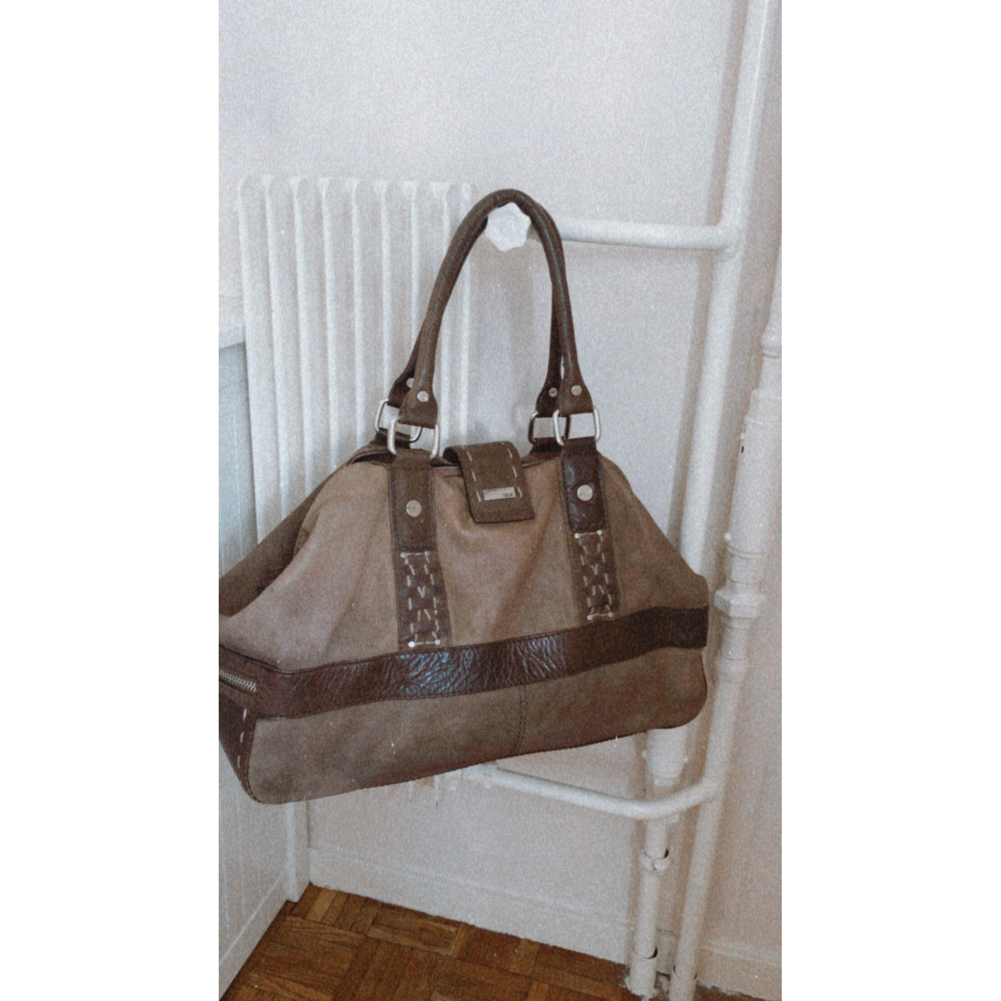 Sac XL en cuir MANGO Marron