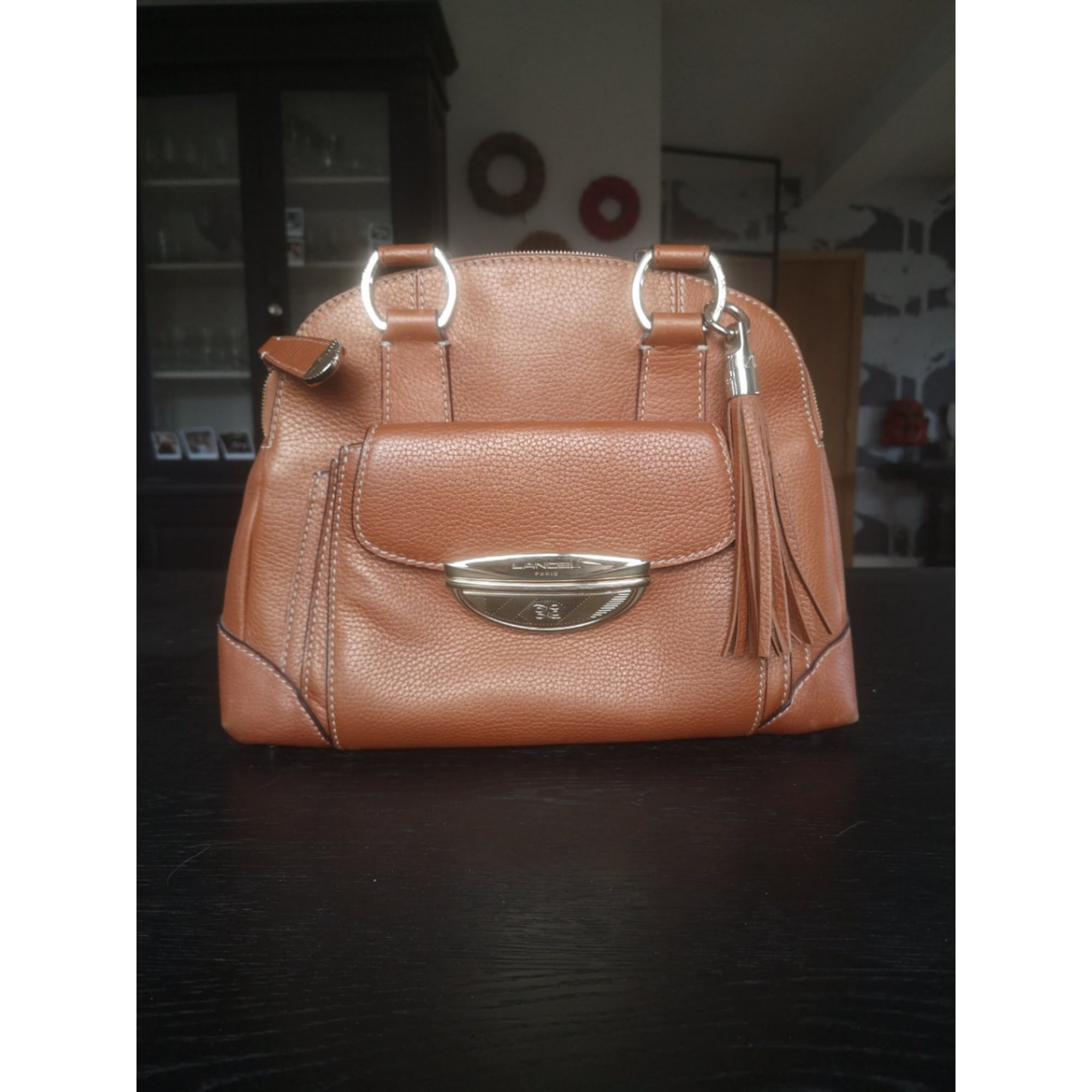 Sac à main en cuir LANCEL Adjani Marron
