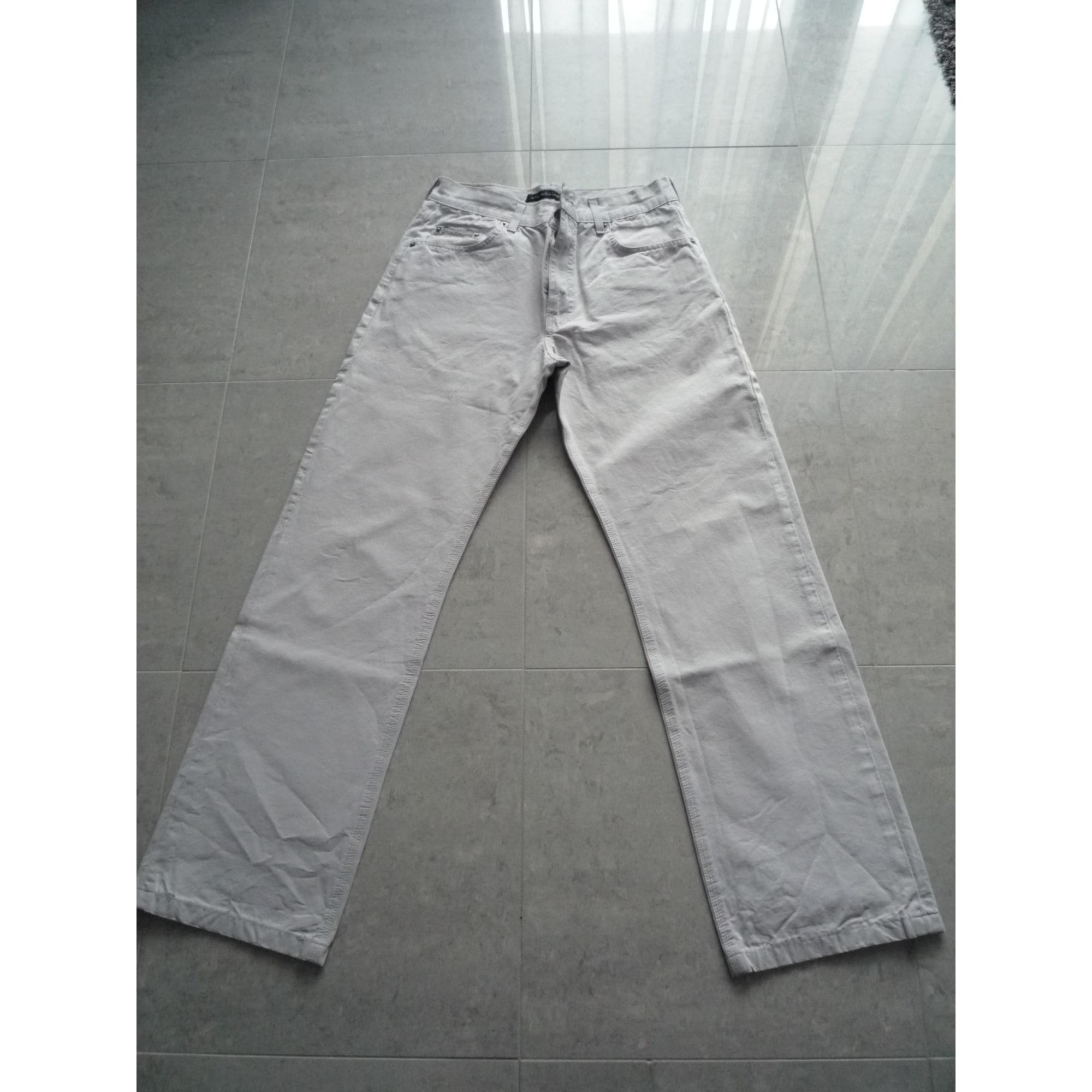 Pantalon droit CHEVIGNON gris et beige