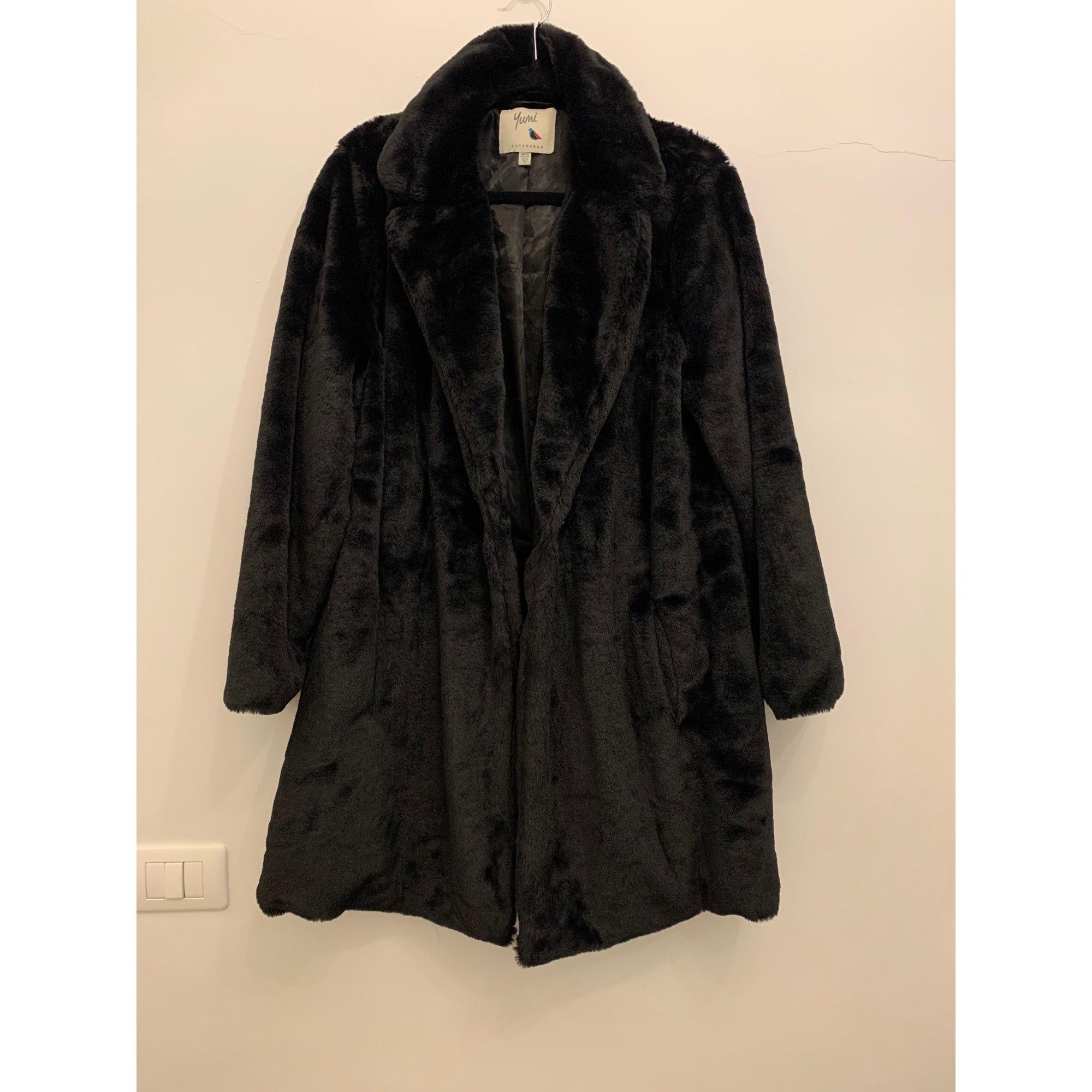 Manteau en fourrure NON SIGNÉ Noir