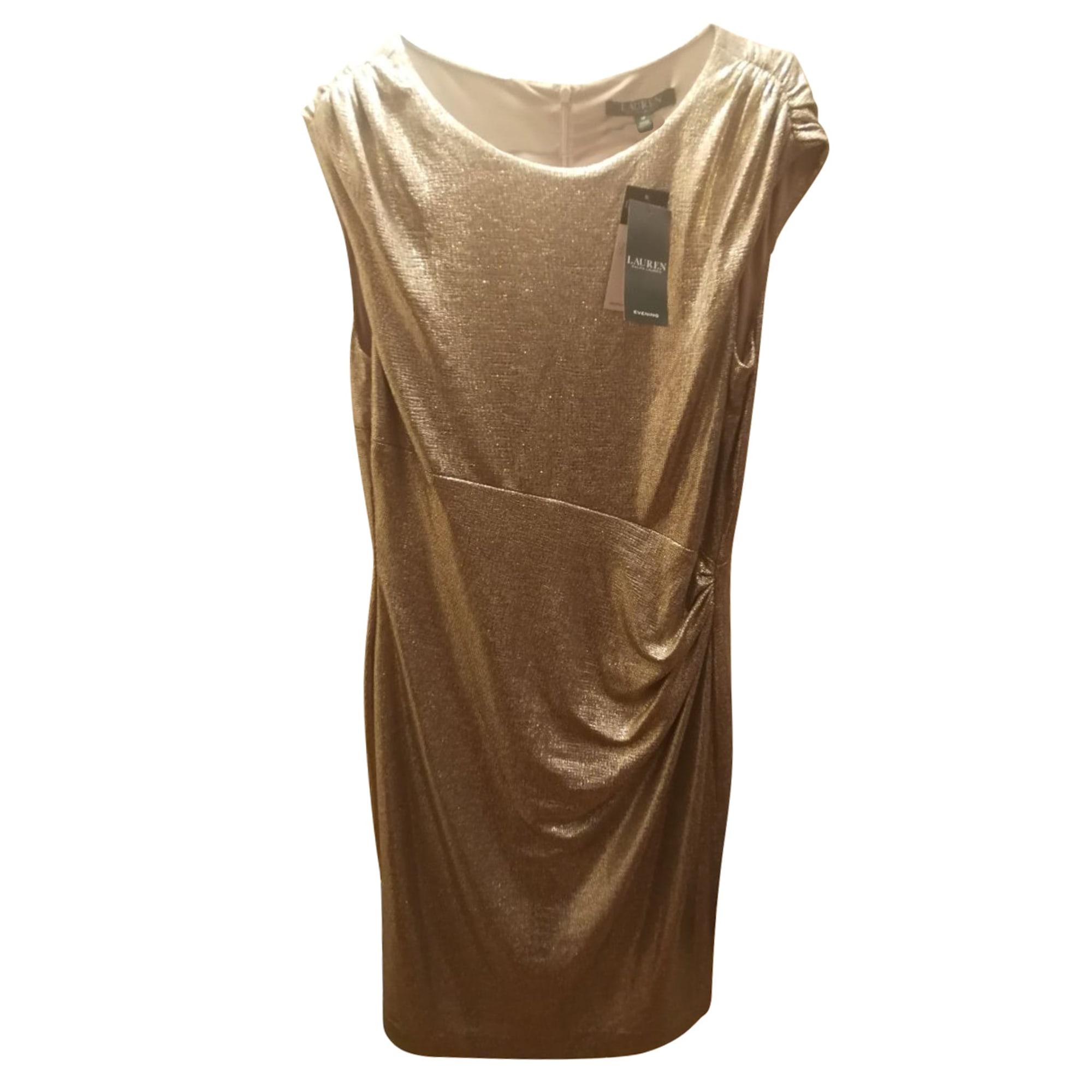 Robe mi-longue RALPH LAUREN Doré, bronze, cuivre