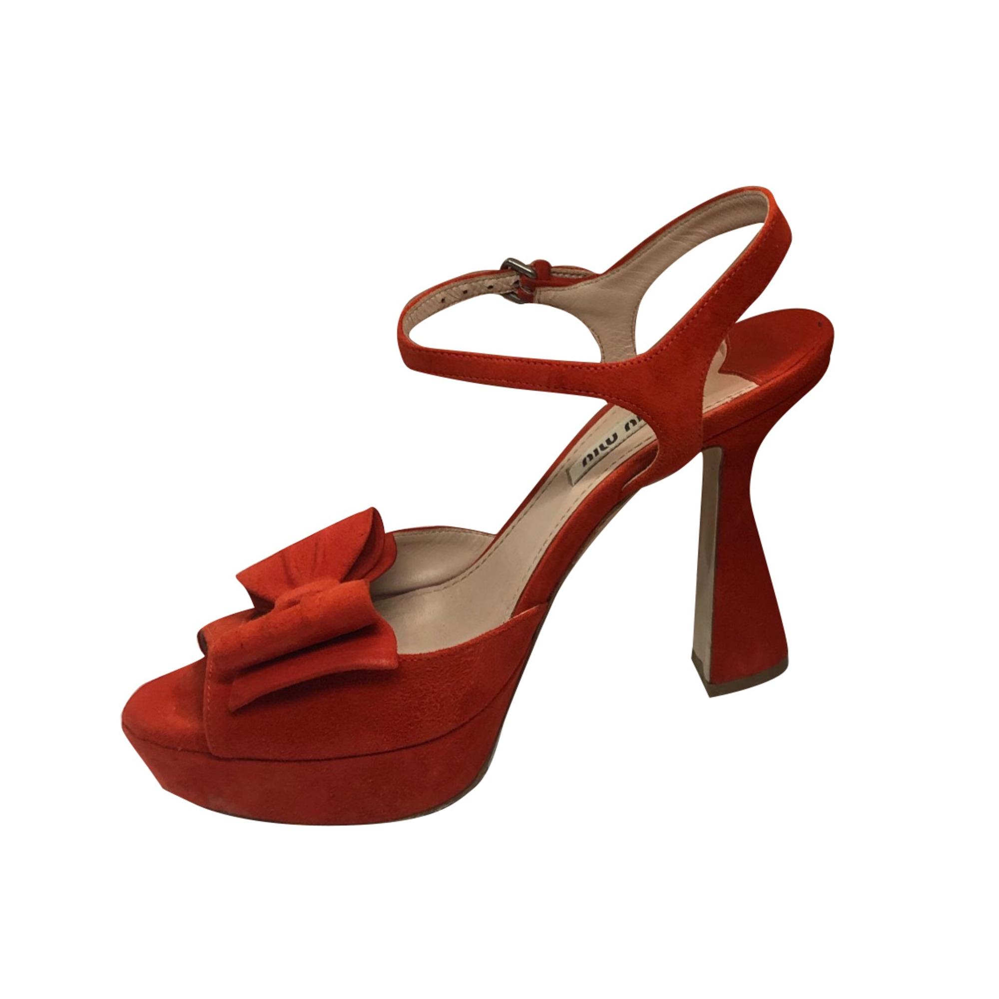 Sandales à talons MIU MIU Rouge, bordeaux