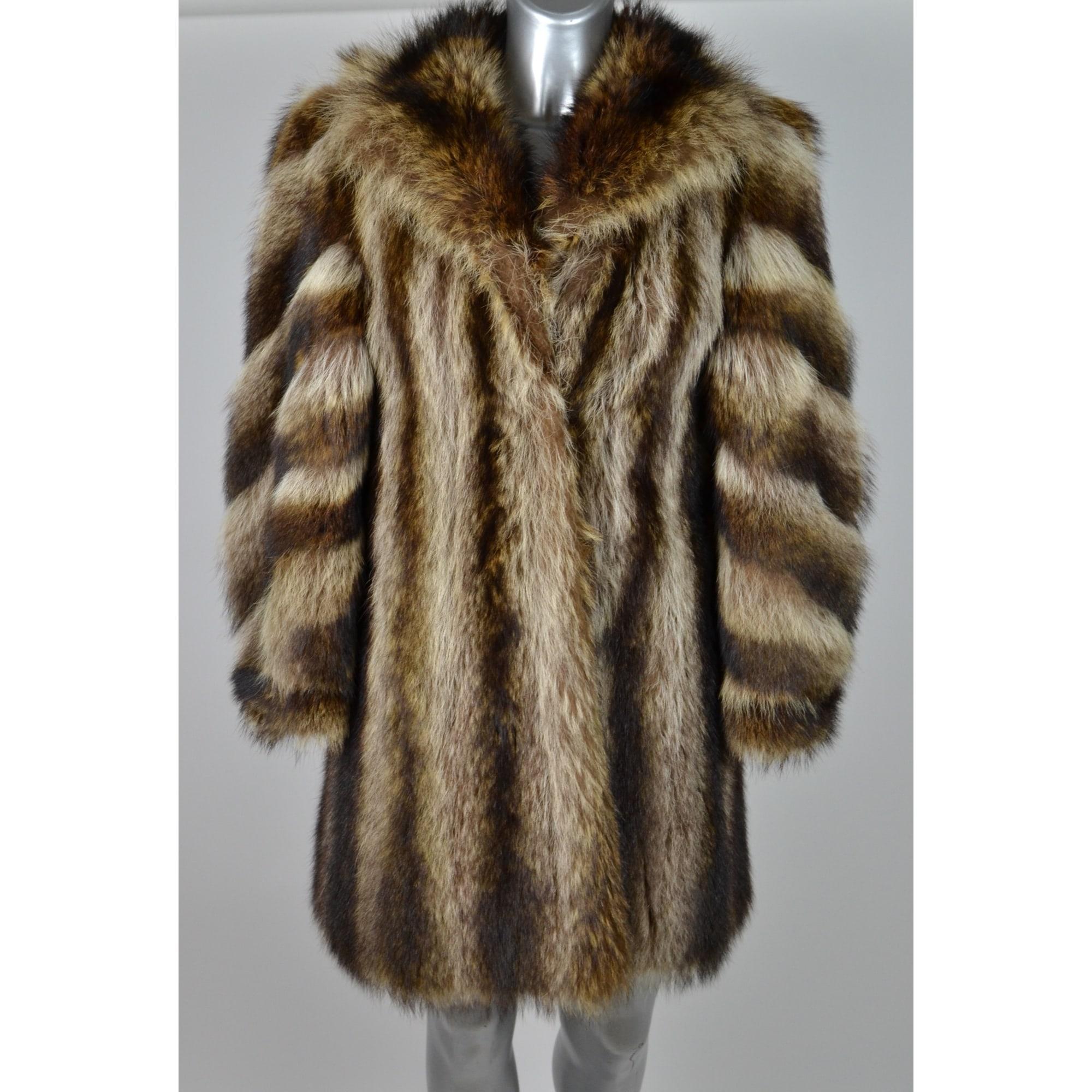 Manteau en fourrure NON SIGNÉ Marron