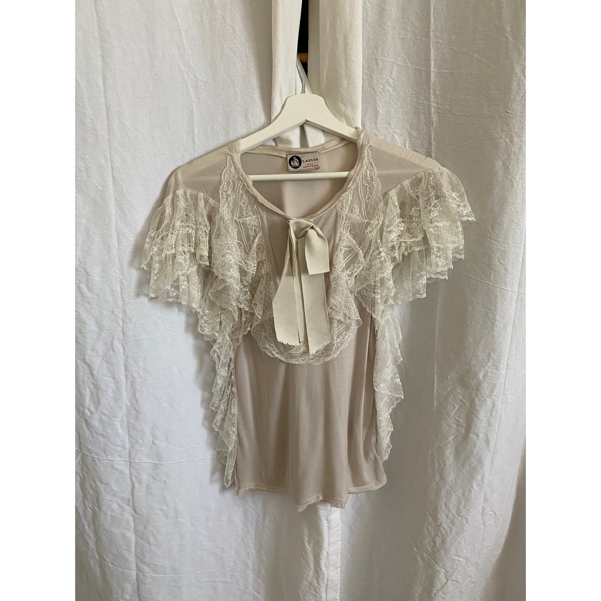 Top, tee-shirt LANVIN Blanc, blanc cassé, écru
