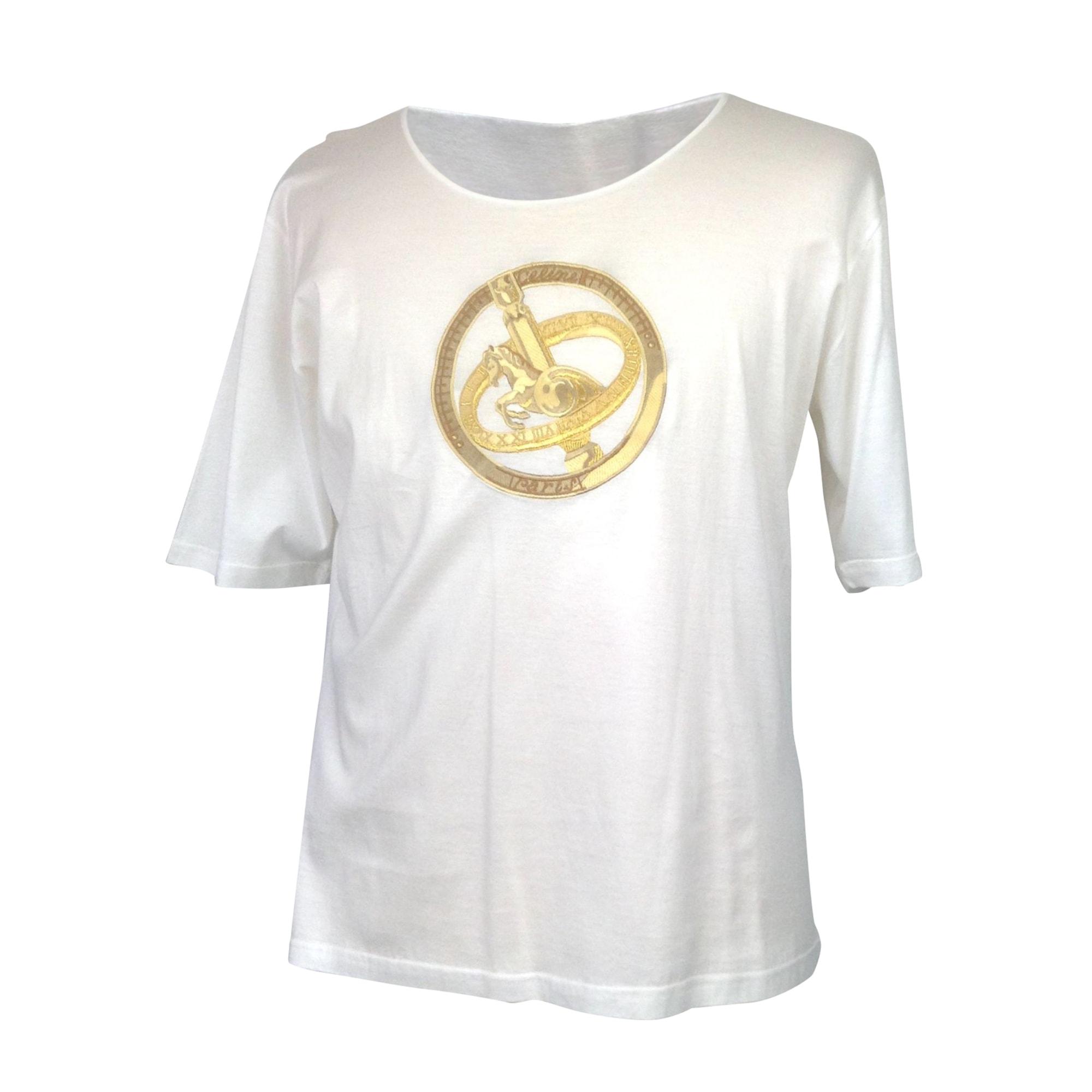 Tops, T-Shirt CÉLINE Weiß, elfenbeinfarben