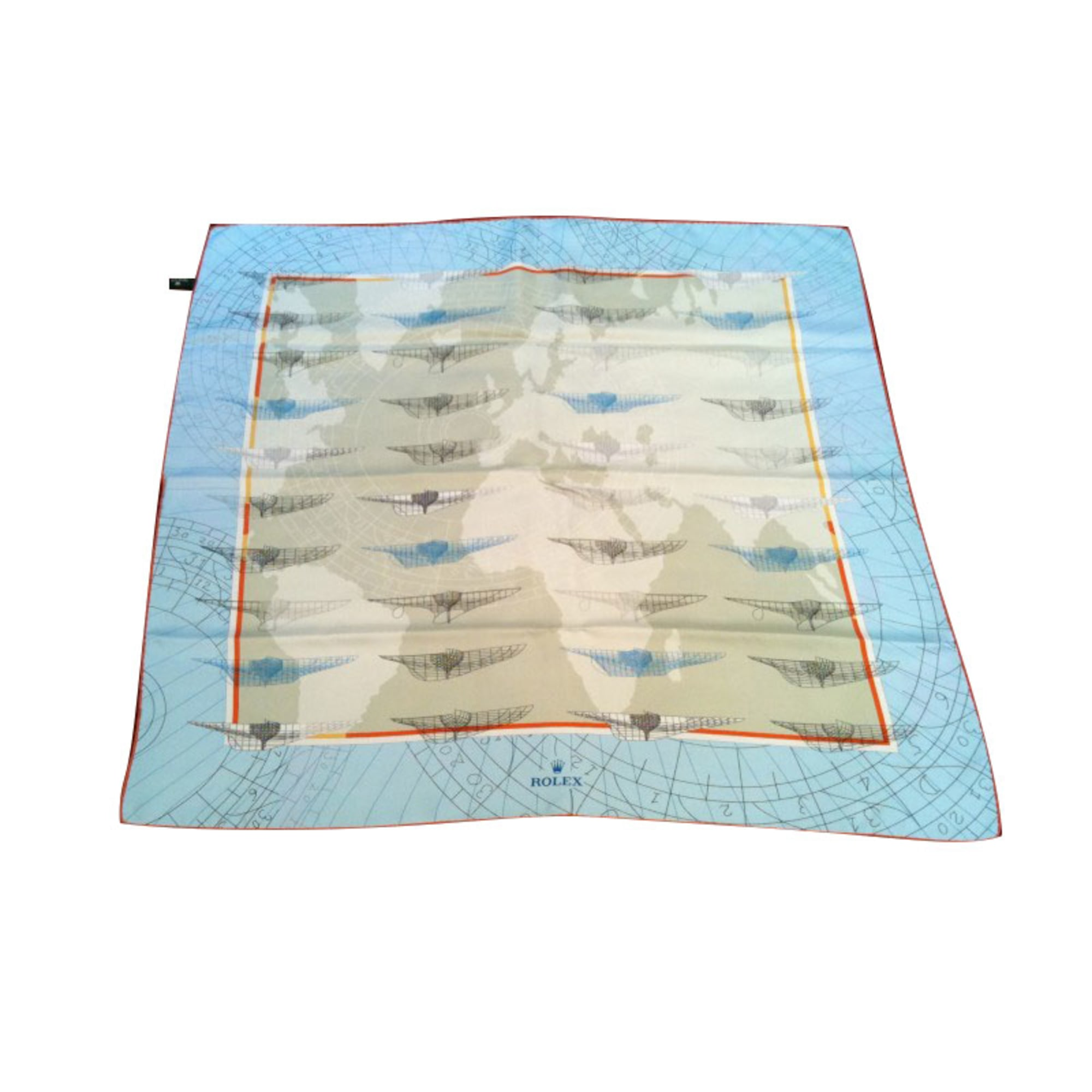 Silk Scarf ROLEX Blue, navy, turquoise