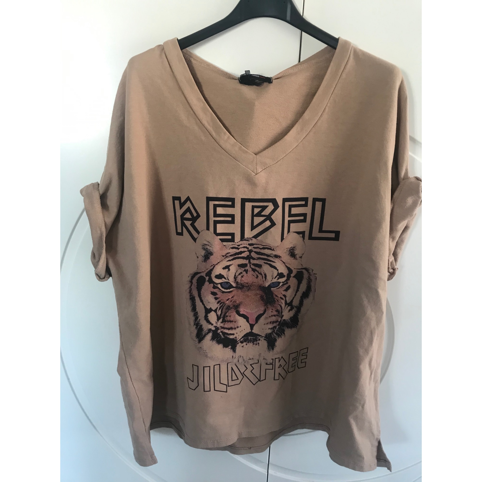 Top, tee-shirt MADE IN ITALIE Camel