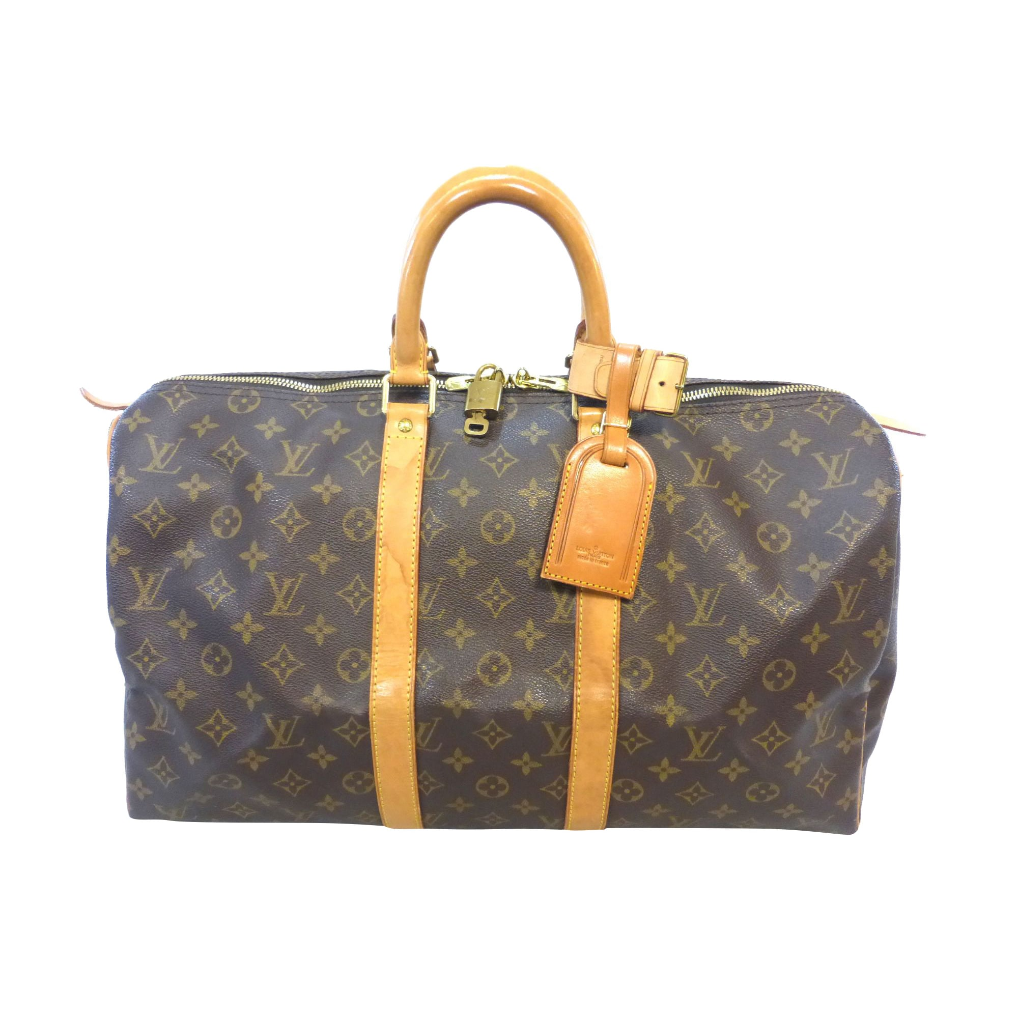 Sac XL en cuir LOUIS VUITTON Keepall Marron