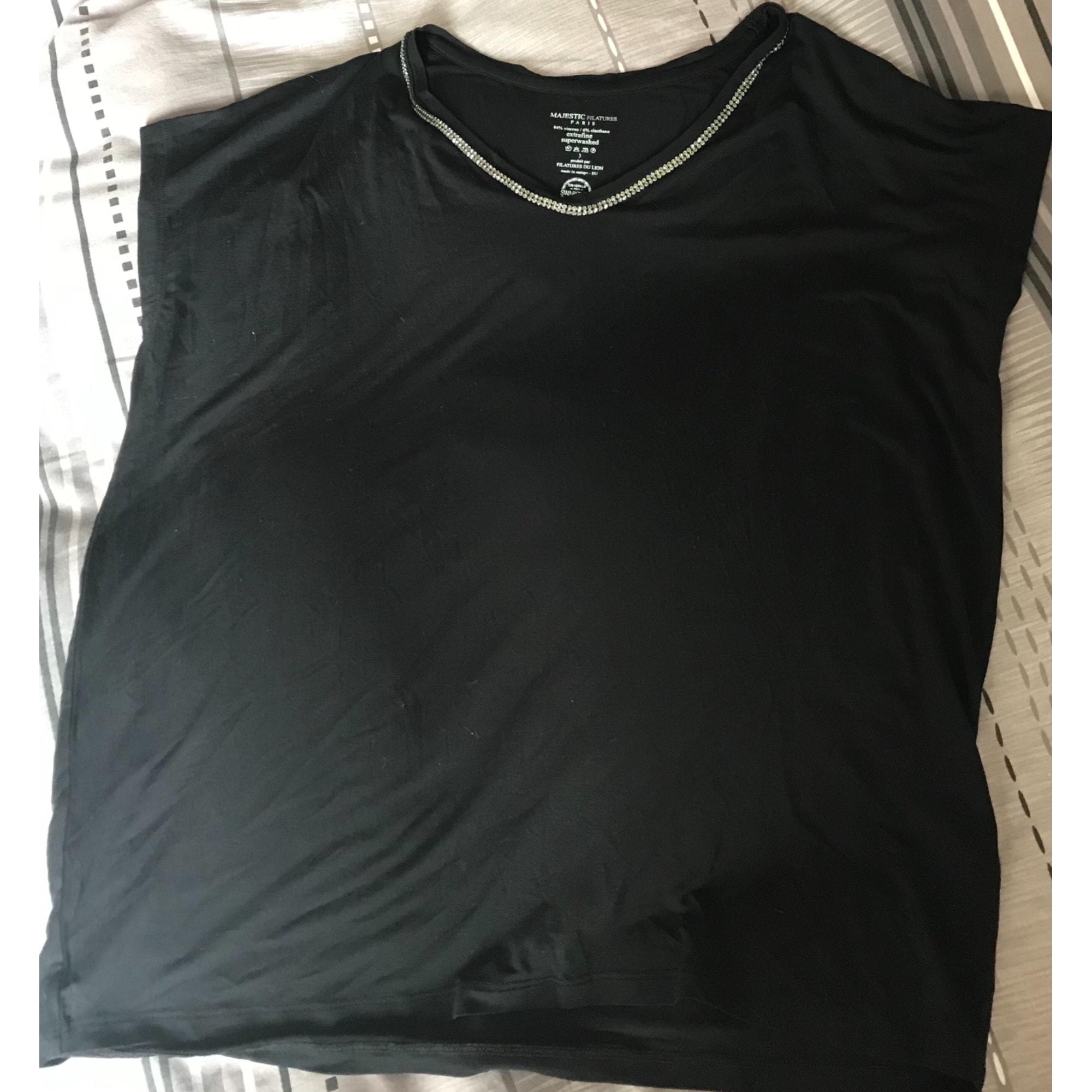 Top, tee-shirt MAJESTIC Noir