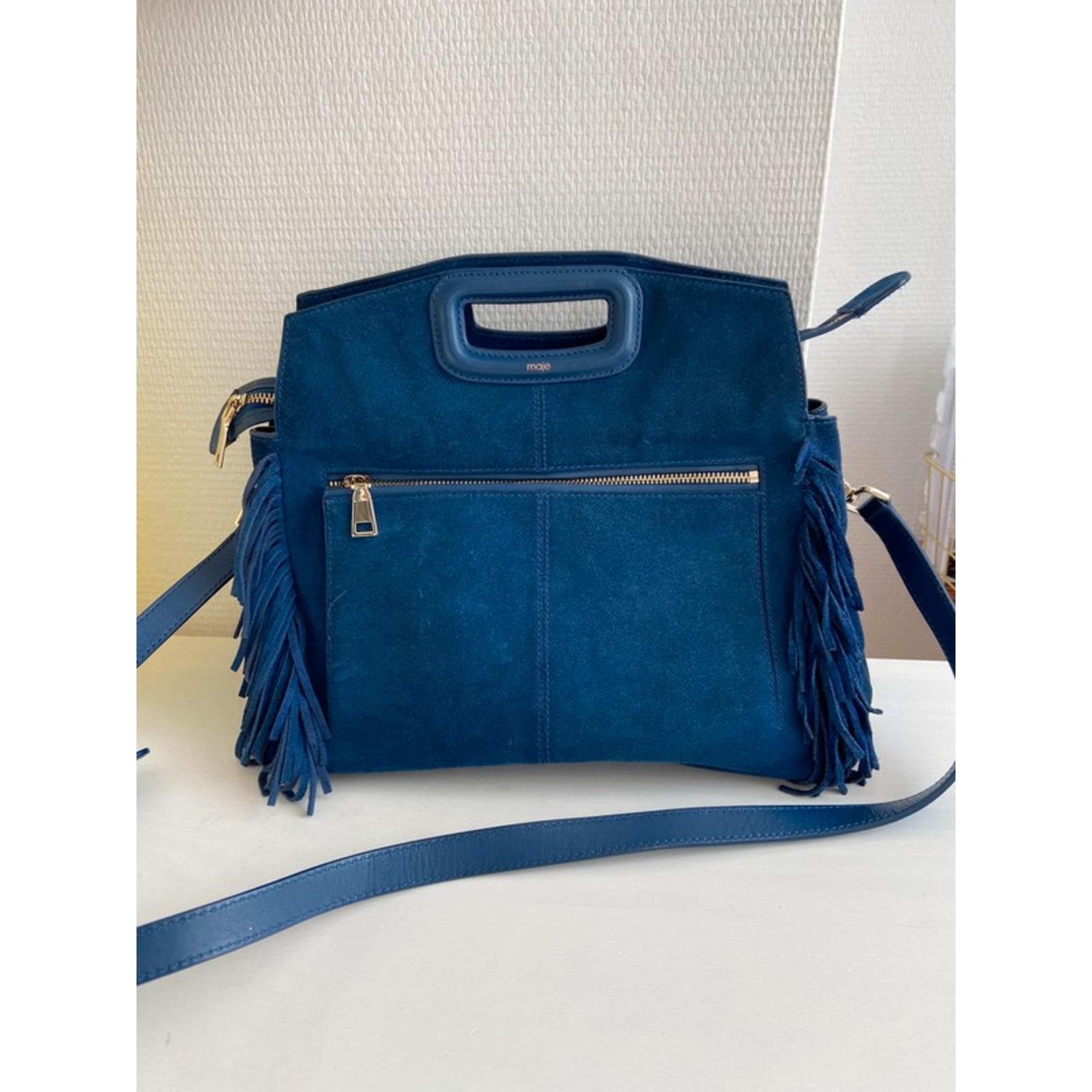 Sac en bandoulière en cuir MAJE M Bleu, bleu marine, bleu turquoise