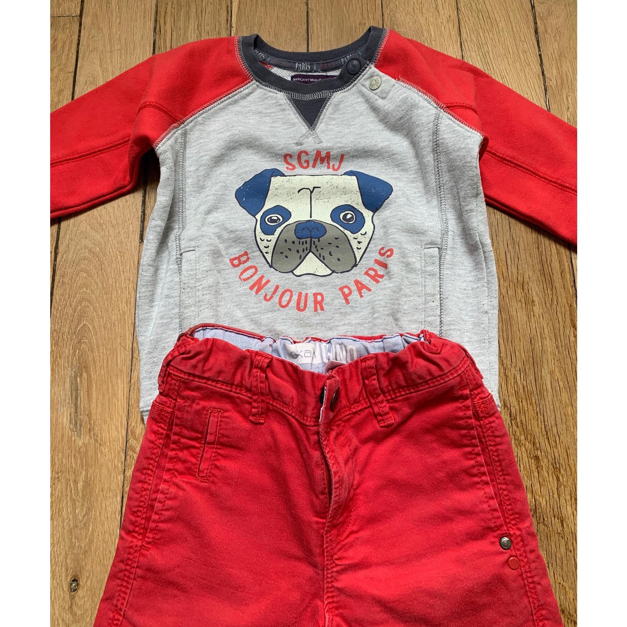 Pants Set, Outfit SERGENT MAJOR Red, burgundy