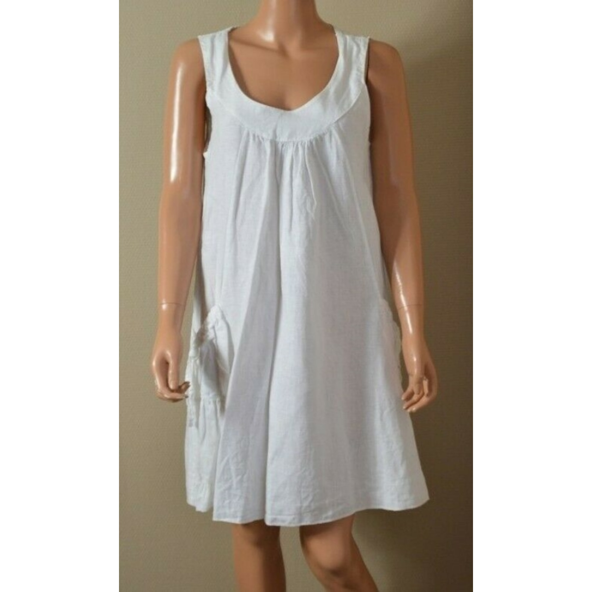 Robe mi-longue MADE IN ITALIE Blanc, blanc cassé, écru