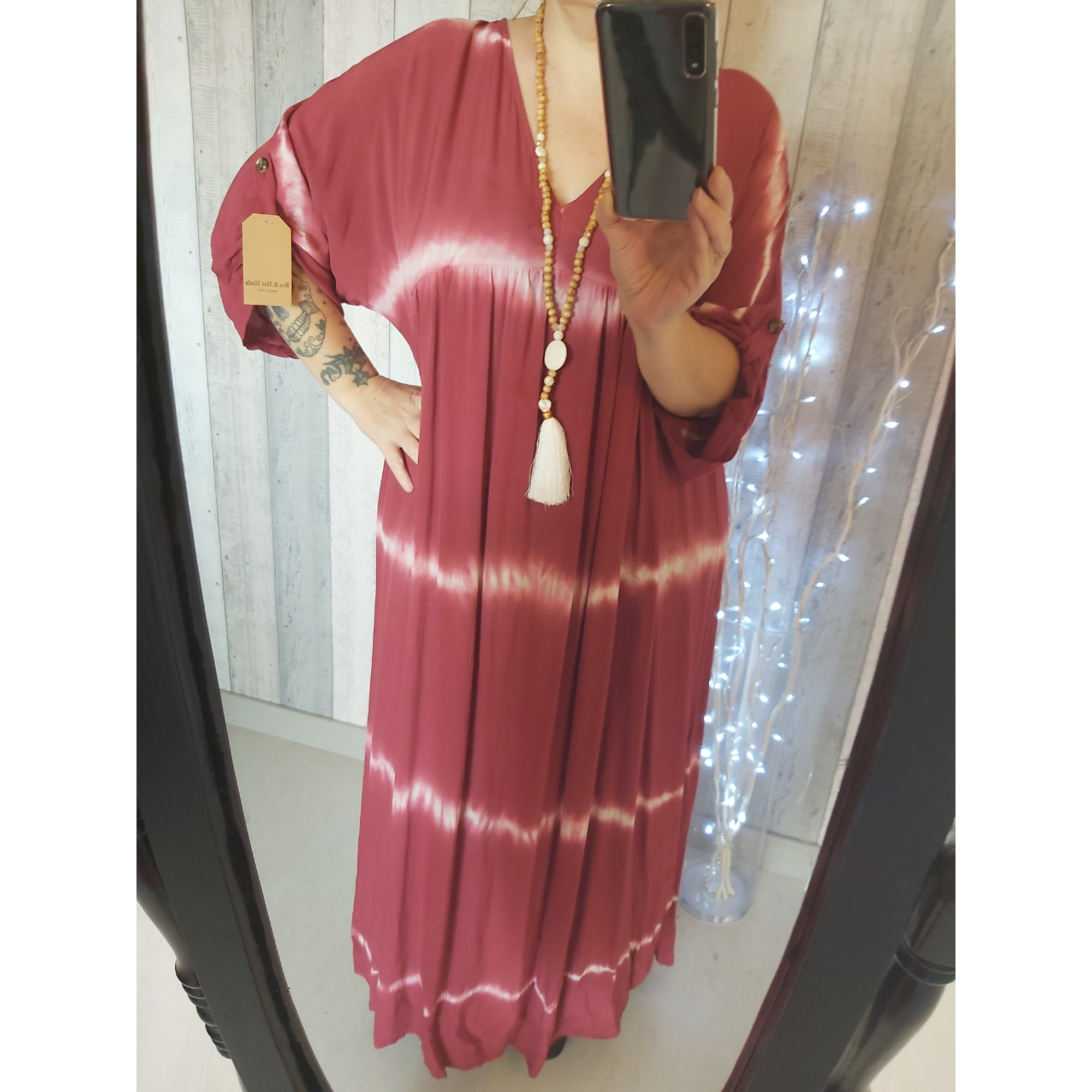 Robe longue MADE IN ITALIE Rouge, bordeaux