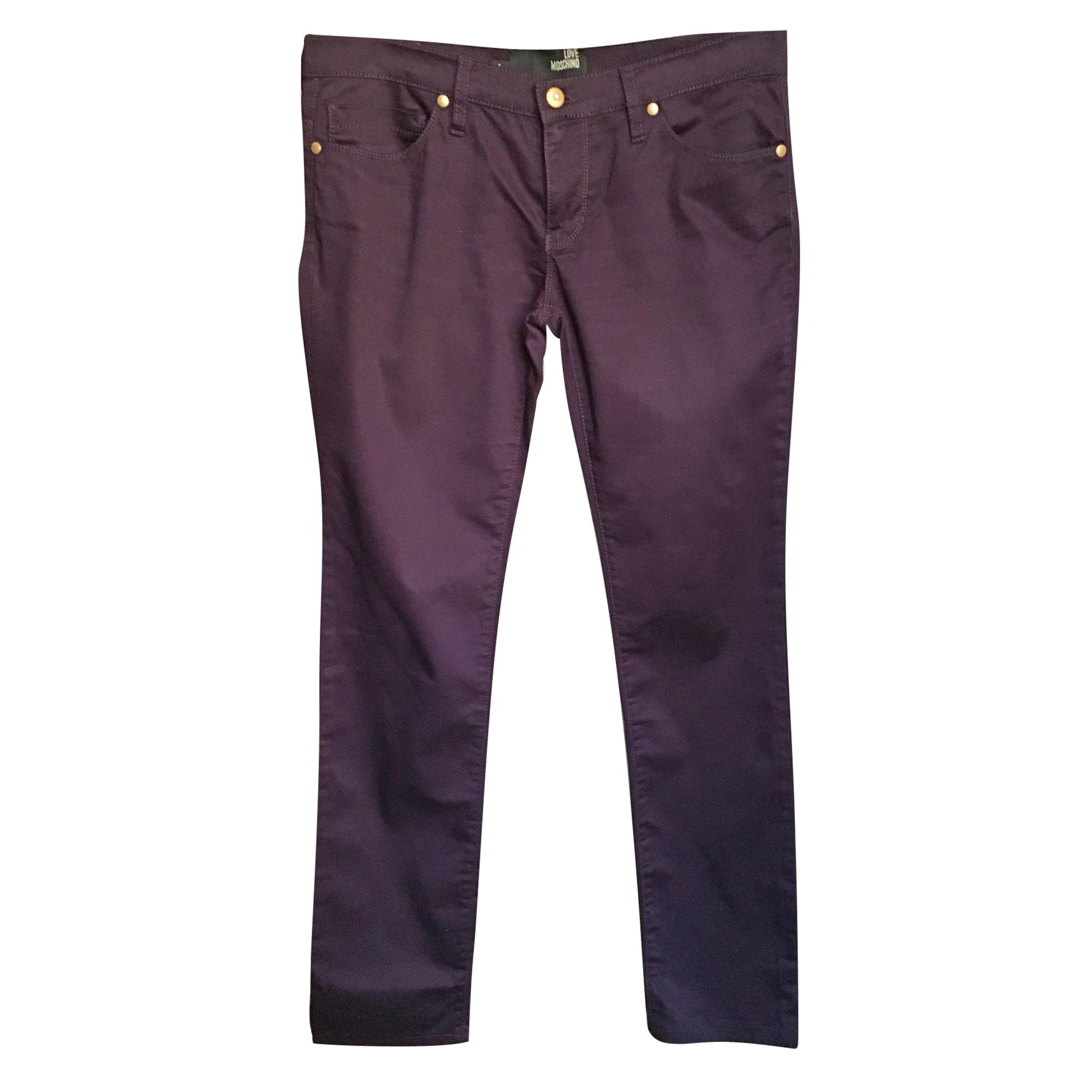 Pantalon droit LOVE MOSCHINO Violet, mauve, lavande