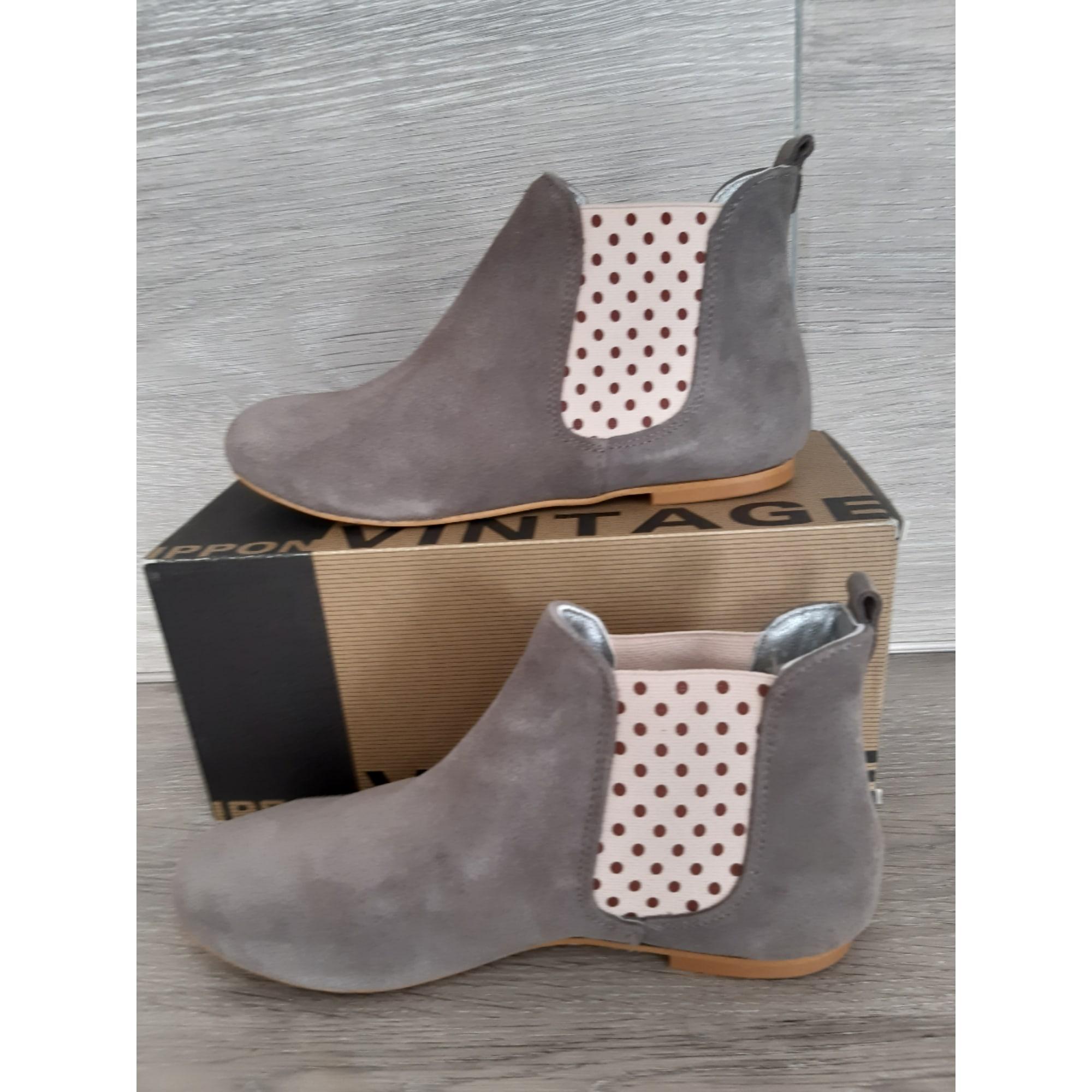 Bottines & low boots plates IPPON VINTAGE Gris, anthracite