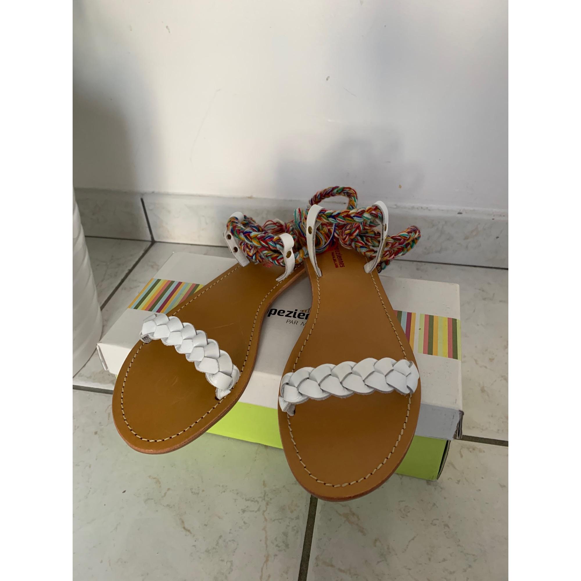 Sandales plates  LES TROPÉZIENNES PAR M. BELARBI Blanc, blanc cassé, écru