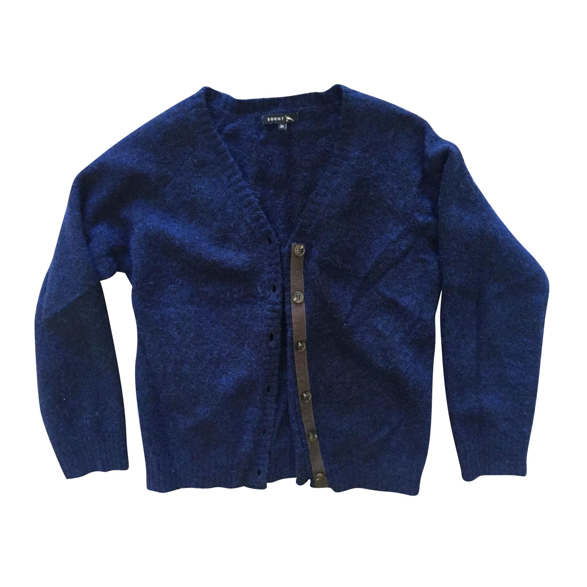 Gilet, cardigan SOEUR Bleu, bleu marine, bleu turquoise