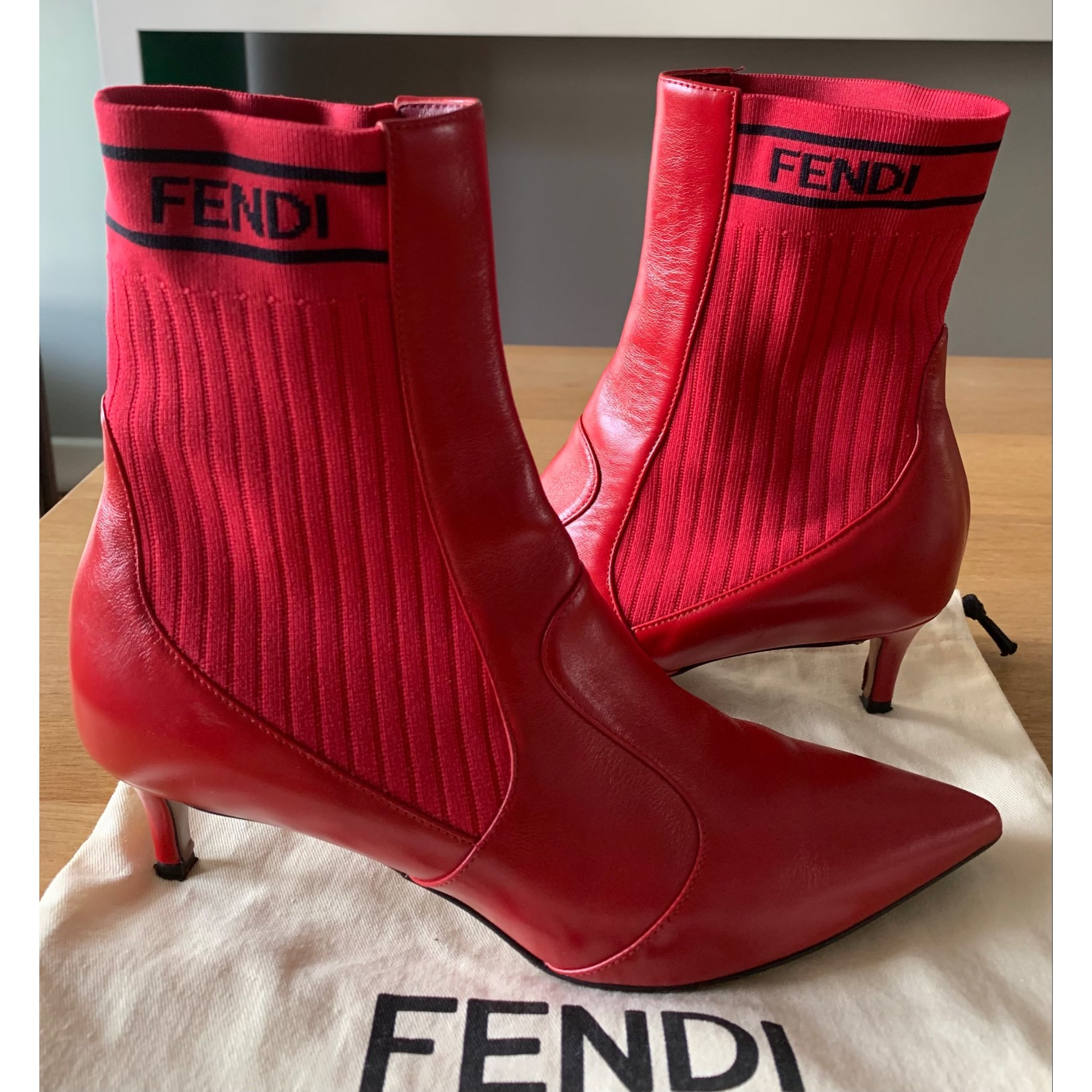 High Heel Ankle Boots FENDI Red, burgundy