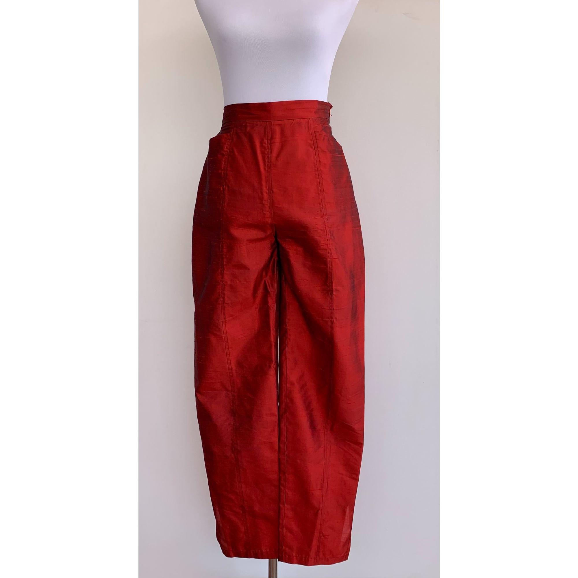 Pantalon droit YVES SAINT LAURENT Rouge, bordeaux