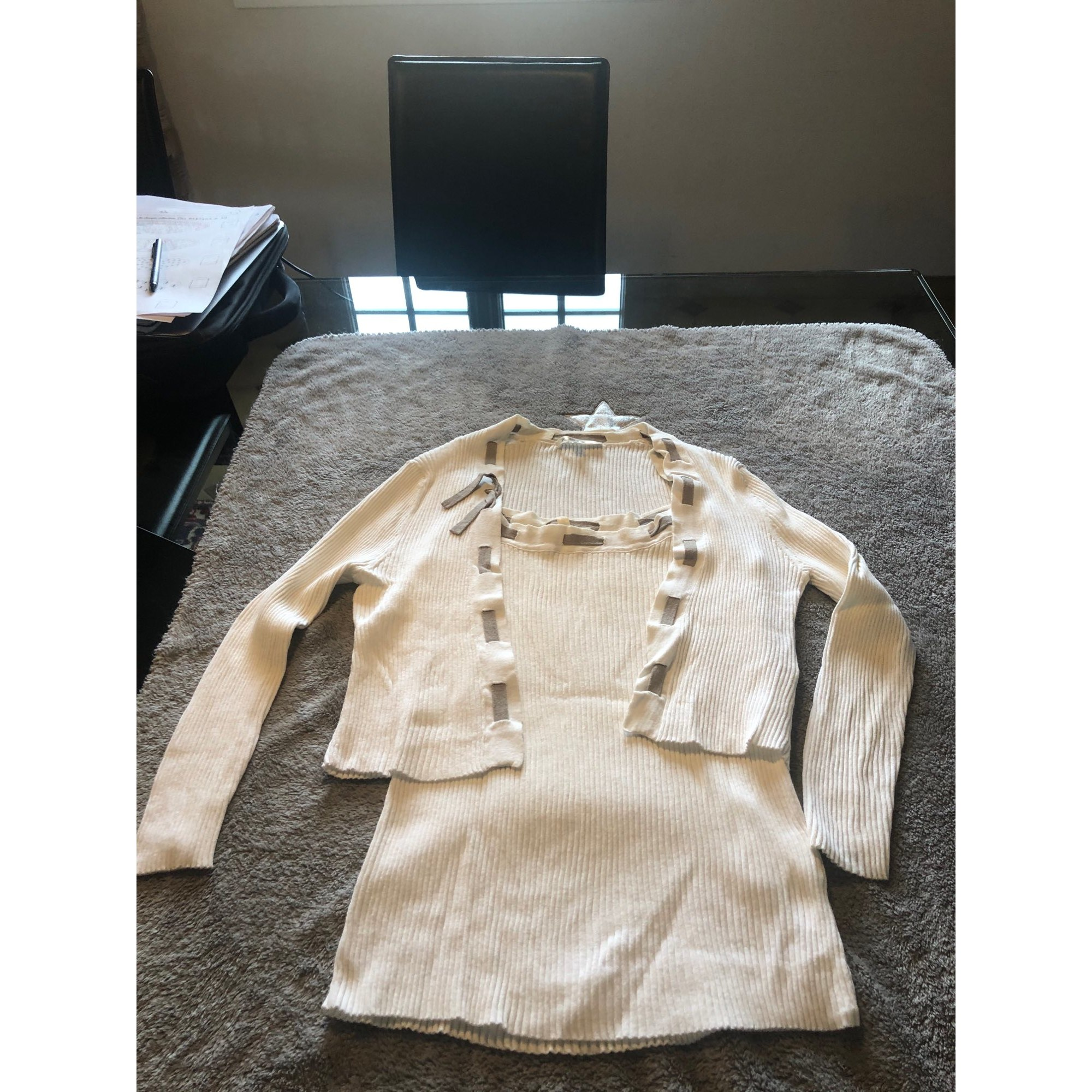 Top, tee-shirt PAULE KA Blanc, blanc cassé, écru