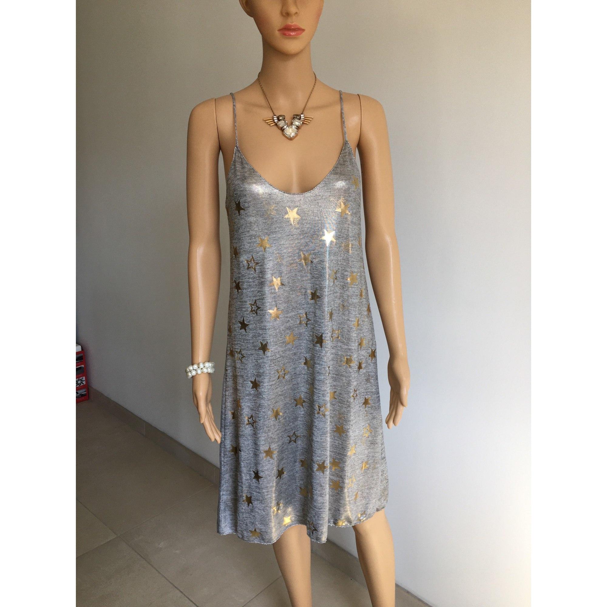 Robe mi-longue MADE IN ITALIE Argenté, acier
