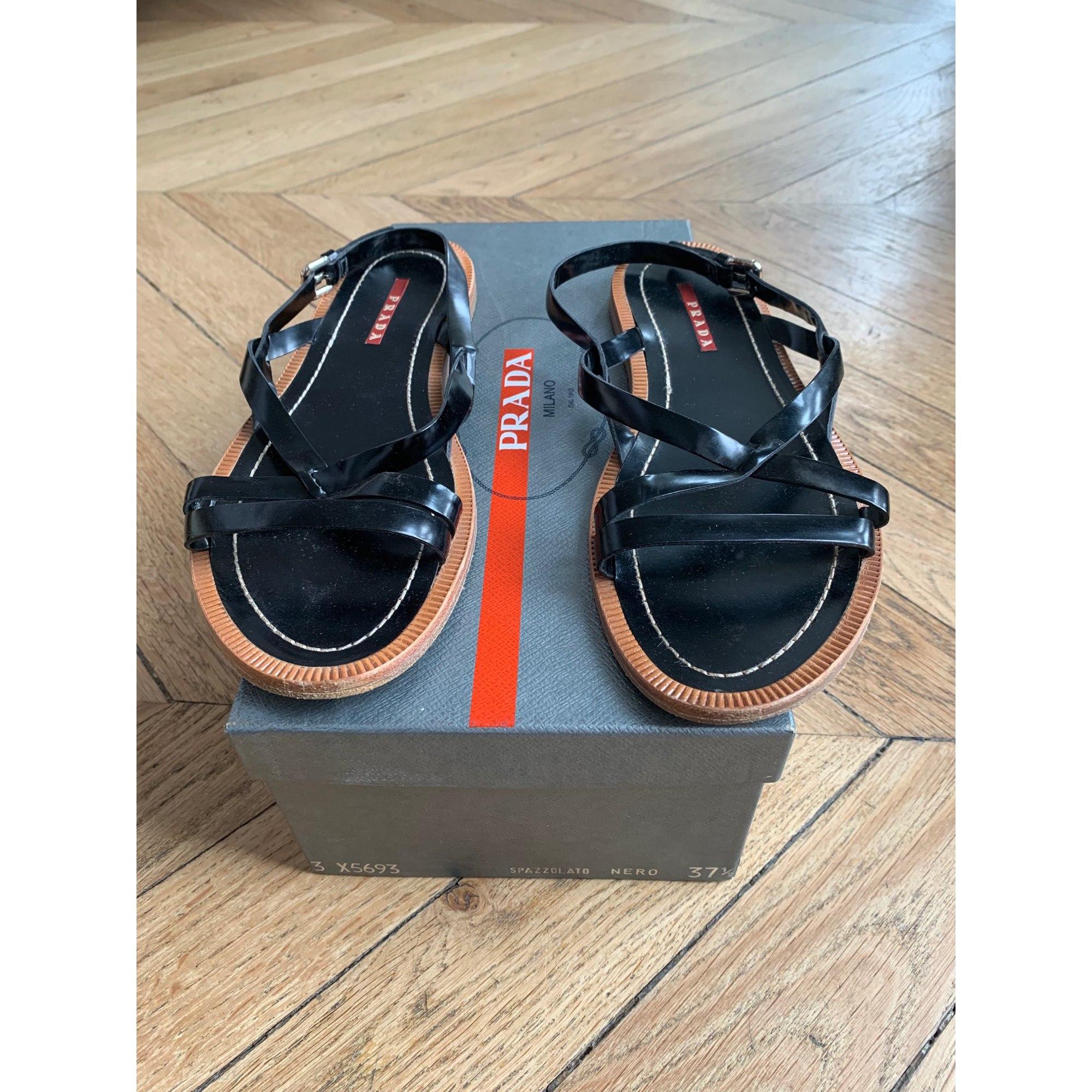 Sandales plates  PRADA Noir