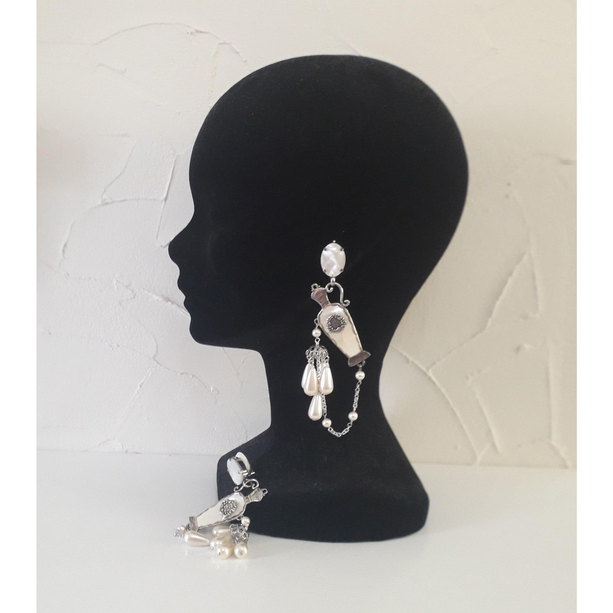 Boucles d'oreille REMINISCENCE argent et blanc nacré