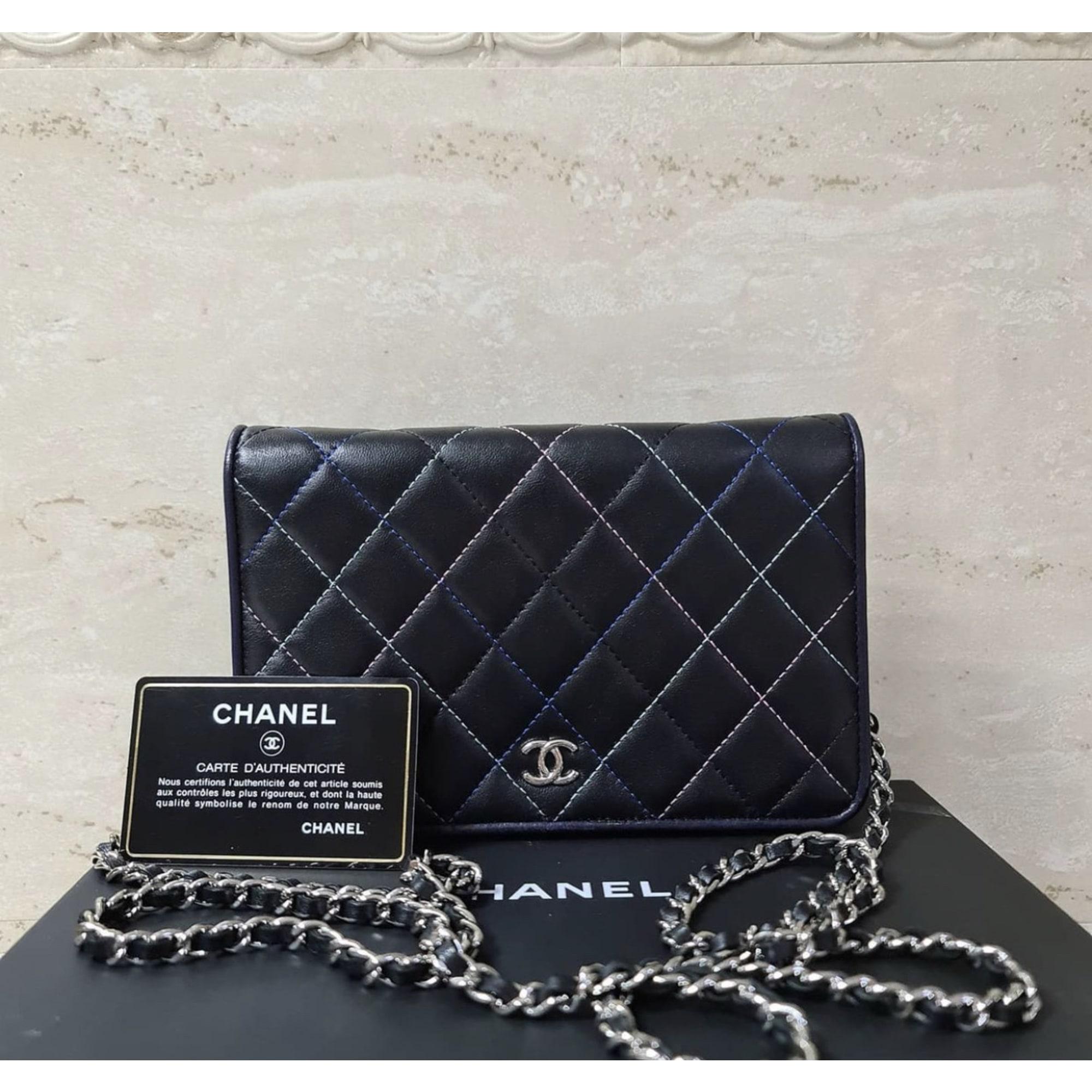 Sac en bandoulière en cuir CHANEL Wallet-On-Chain Noir