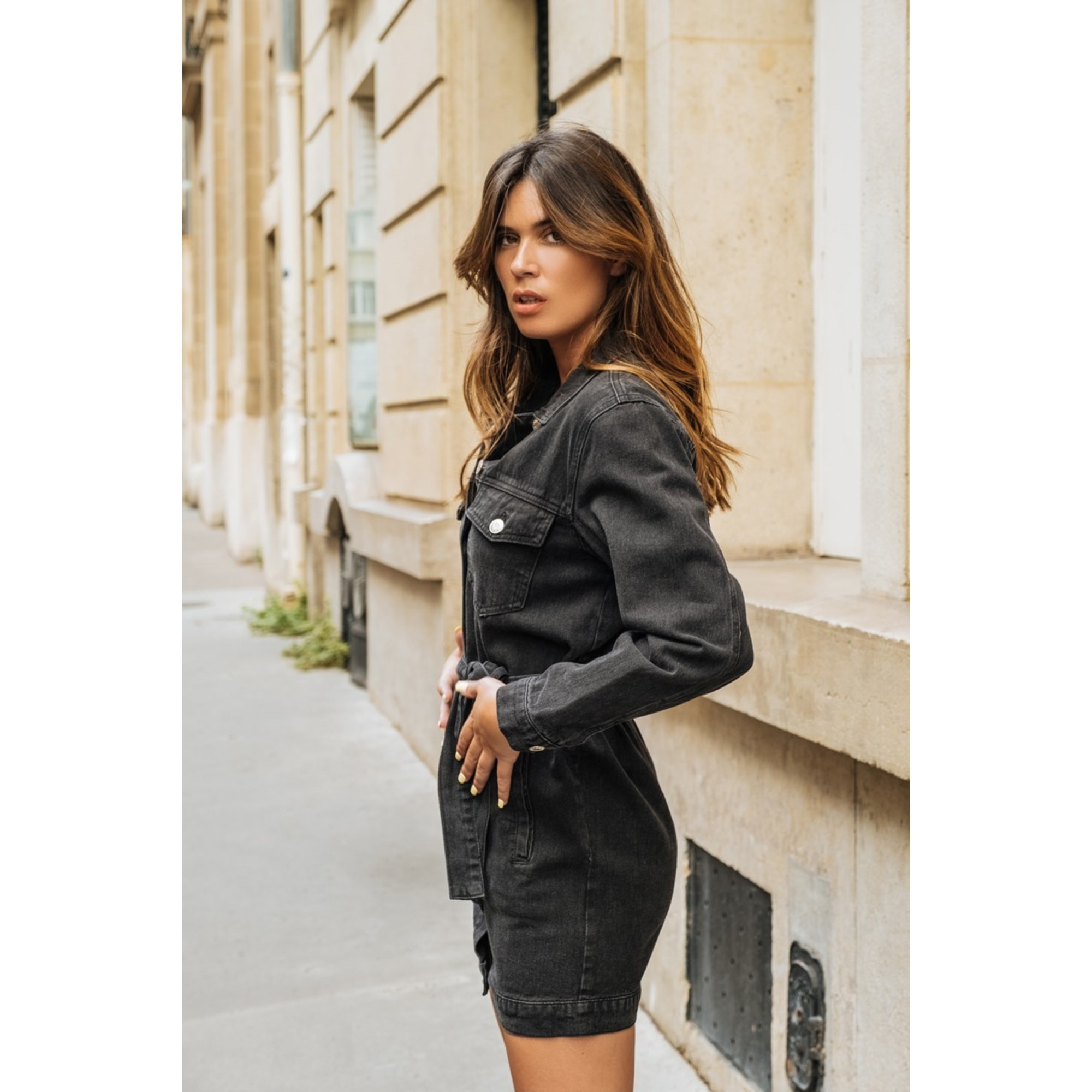 Robe en jeans CINDY H Noir