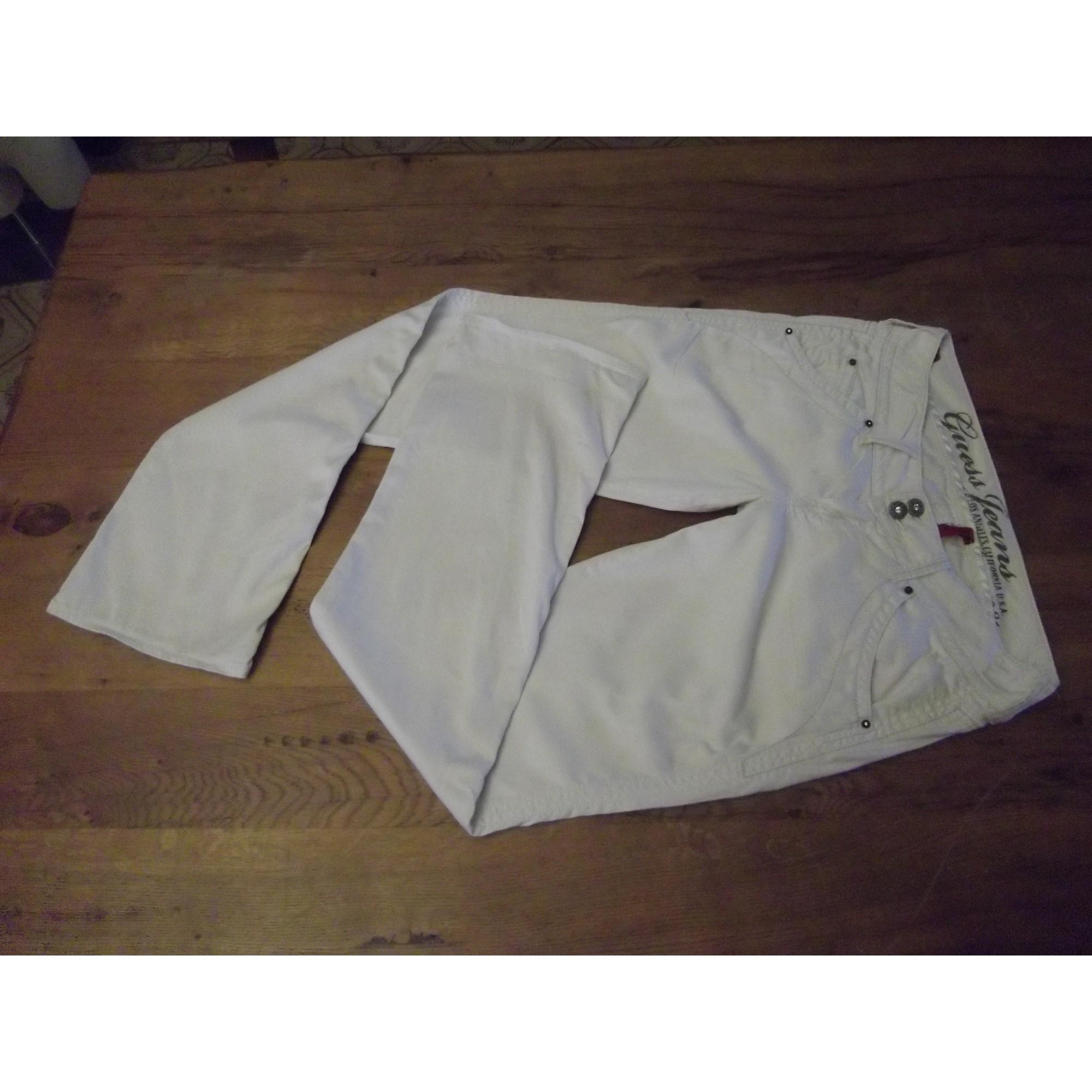 Pantalon slim, cigarette GUESS Blanc, blanc cassé, écru