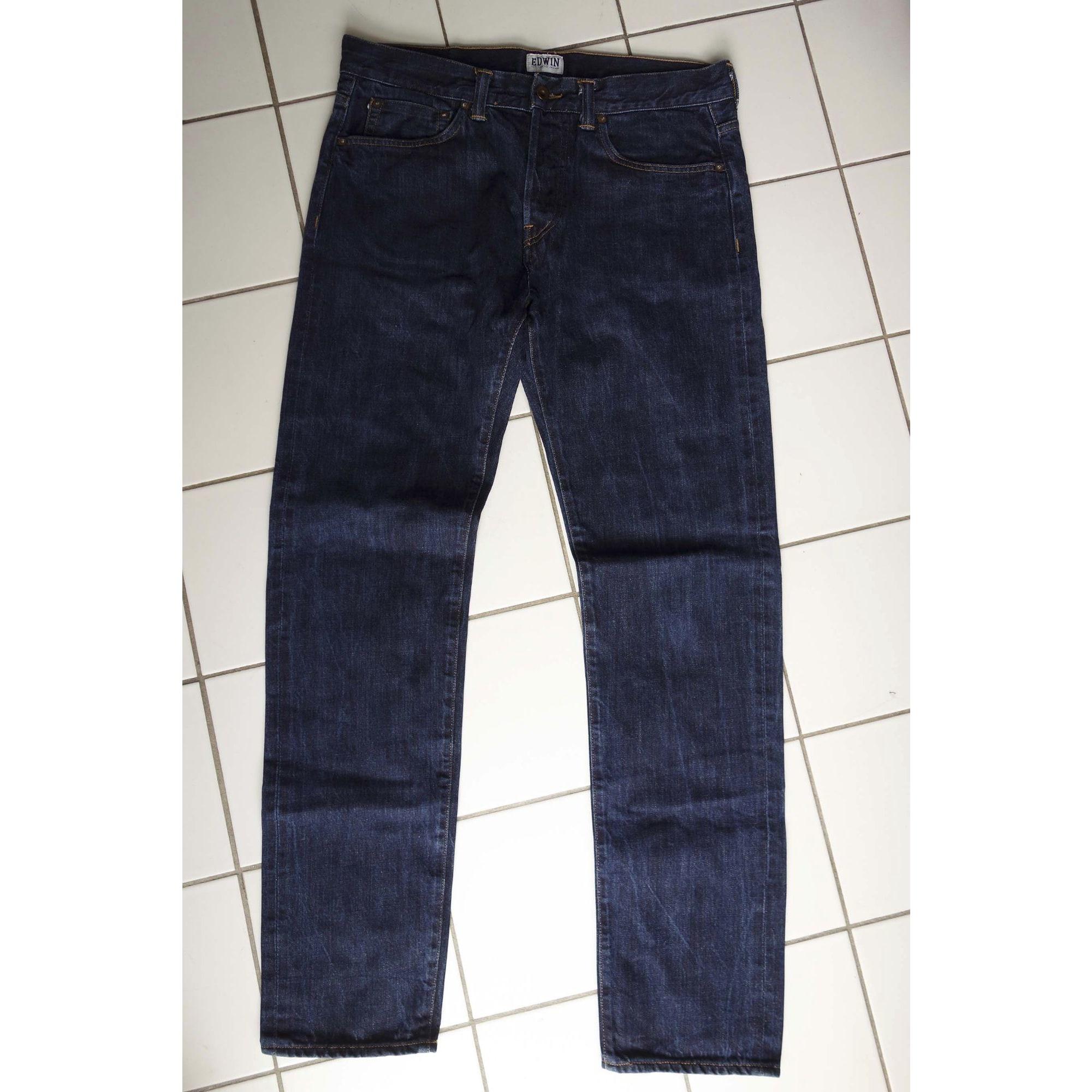Jeans slim EDWIN Bleu, bleu marine, bleu turquoise