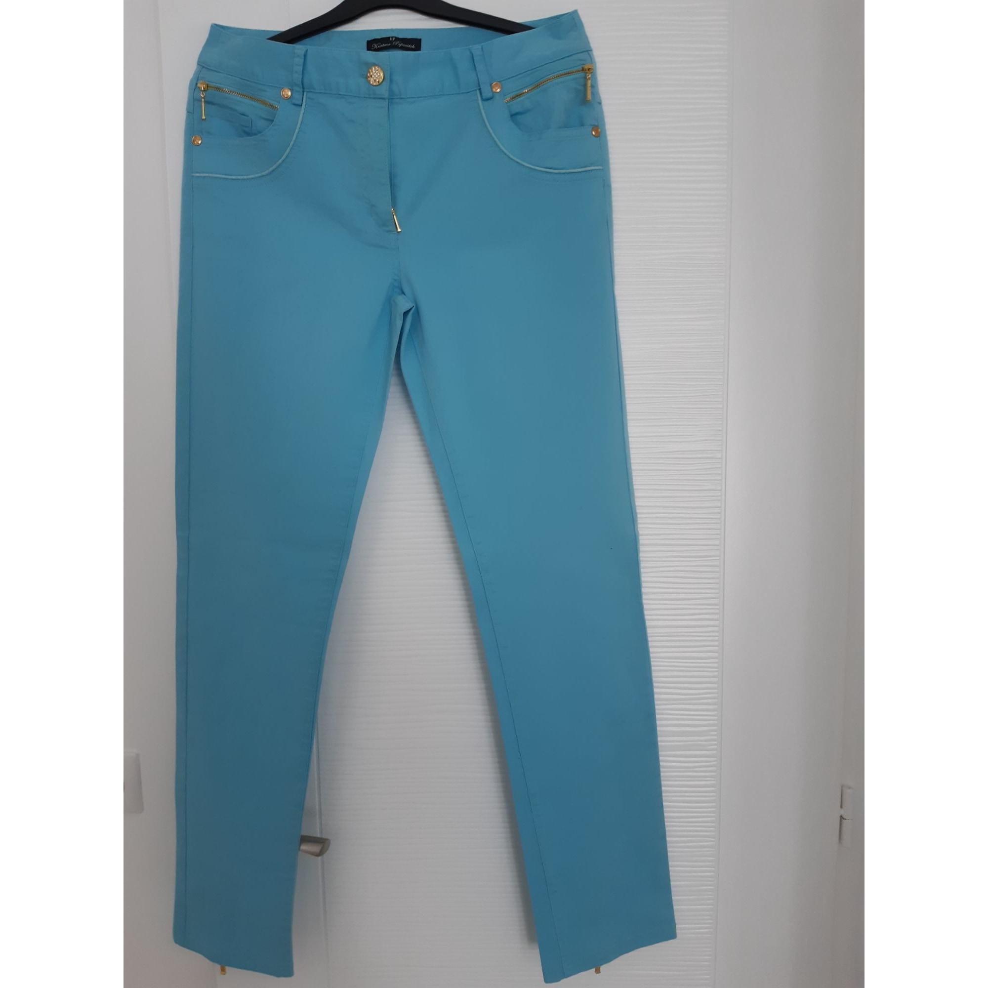 Pantalon droit KRISTINA POPOVITCH Bleu, bleu marine, bleu turquoise