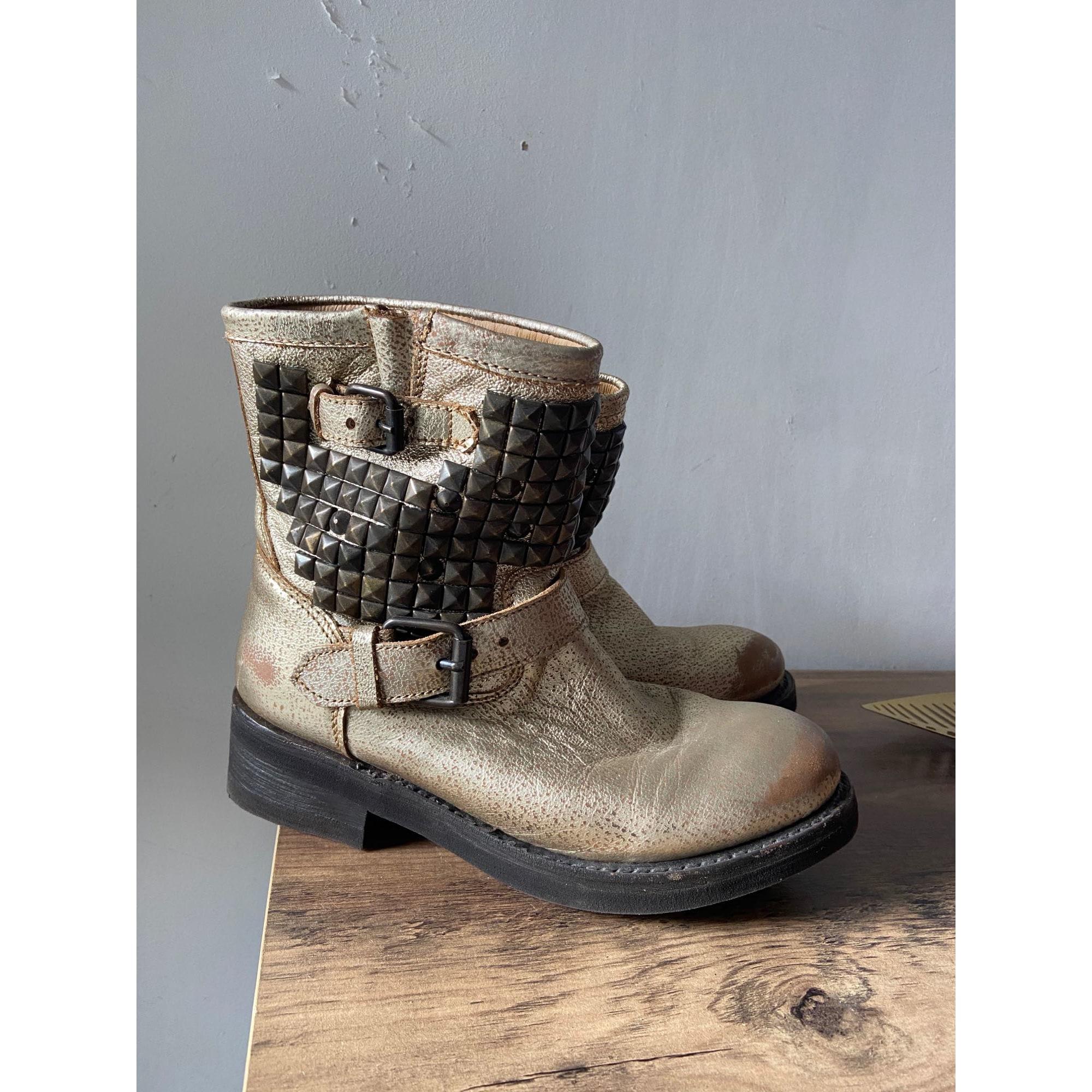 Bottines & low boots motards ASH Doré, bronze, cuivre