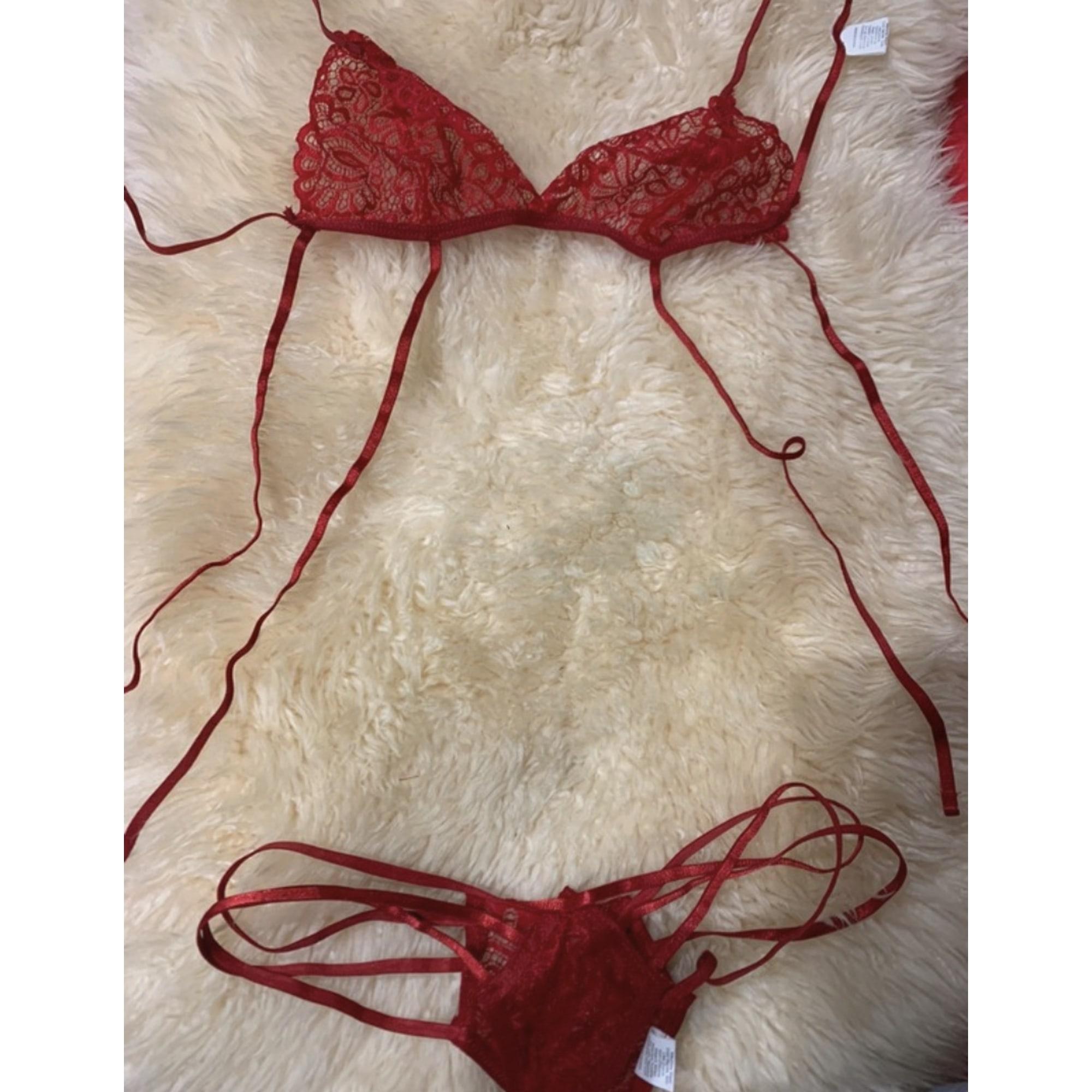 Ensemble, parure lingerie PRINTEMPS Rouge, bordeaux