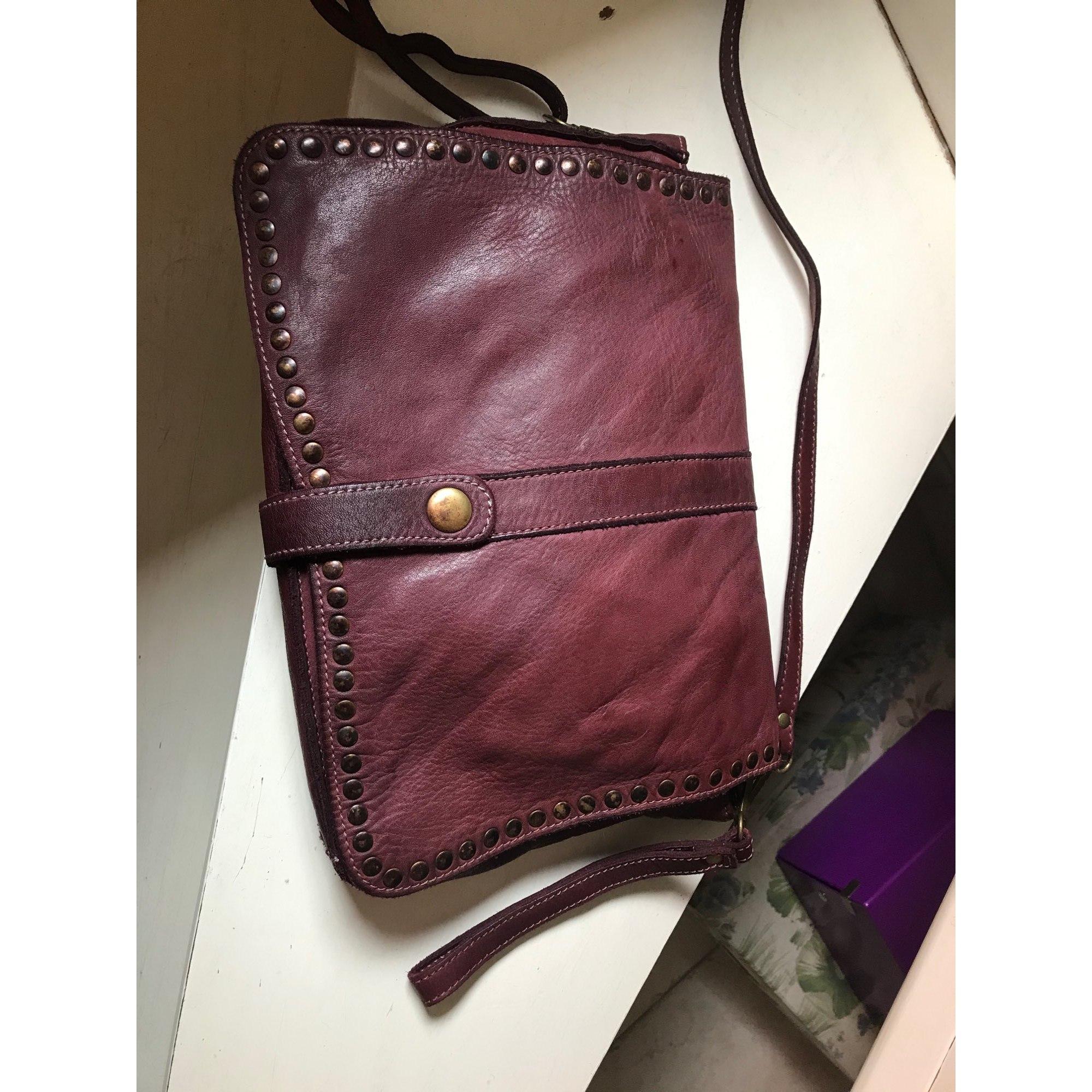 Handtasche Leder MADE IN ITALIE Rot, bordeauxrot