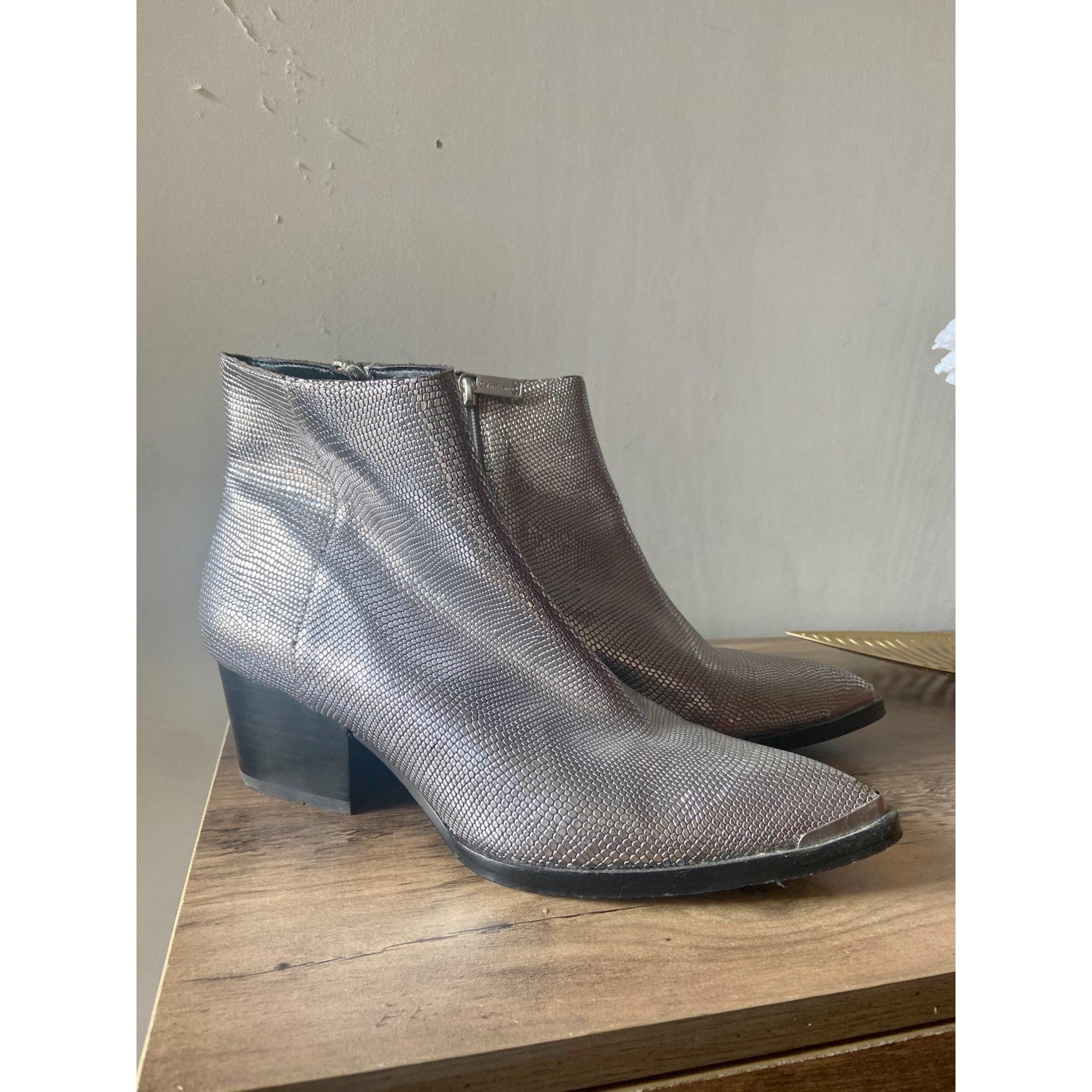 Bottines & low boots à talons CALVIN KLEIN Argenté, acier