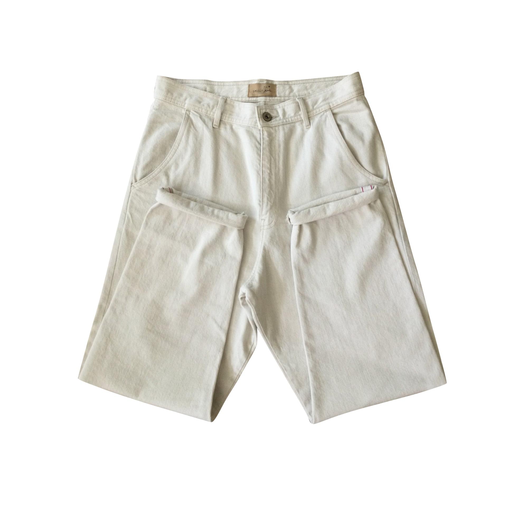 Pantalon large SESSUN Blanc, blanc cassé, écru