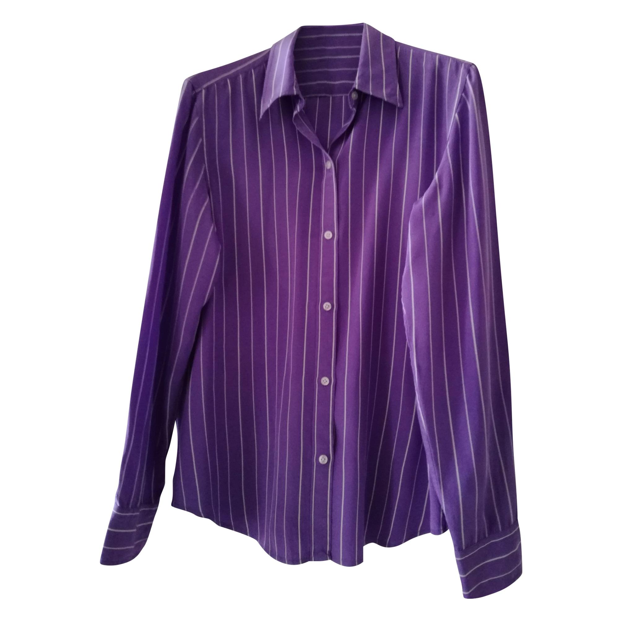 Chemisier RALPH LAUREN rayé violet et blanc