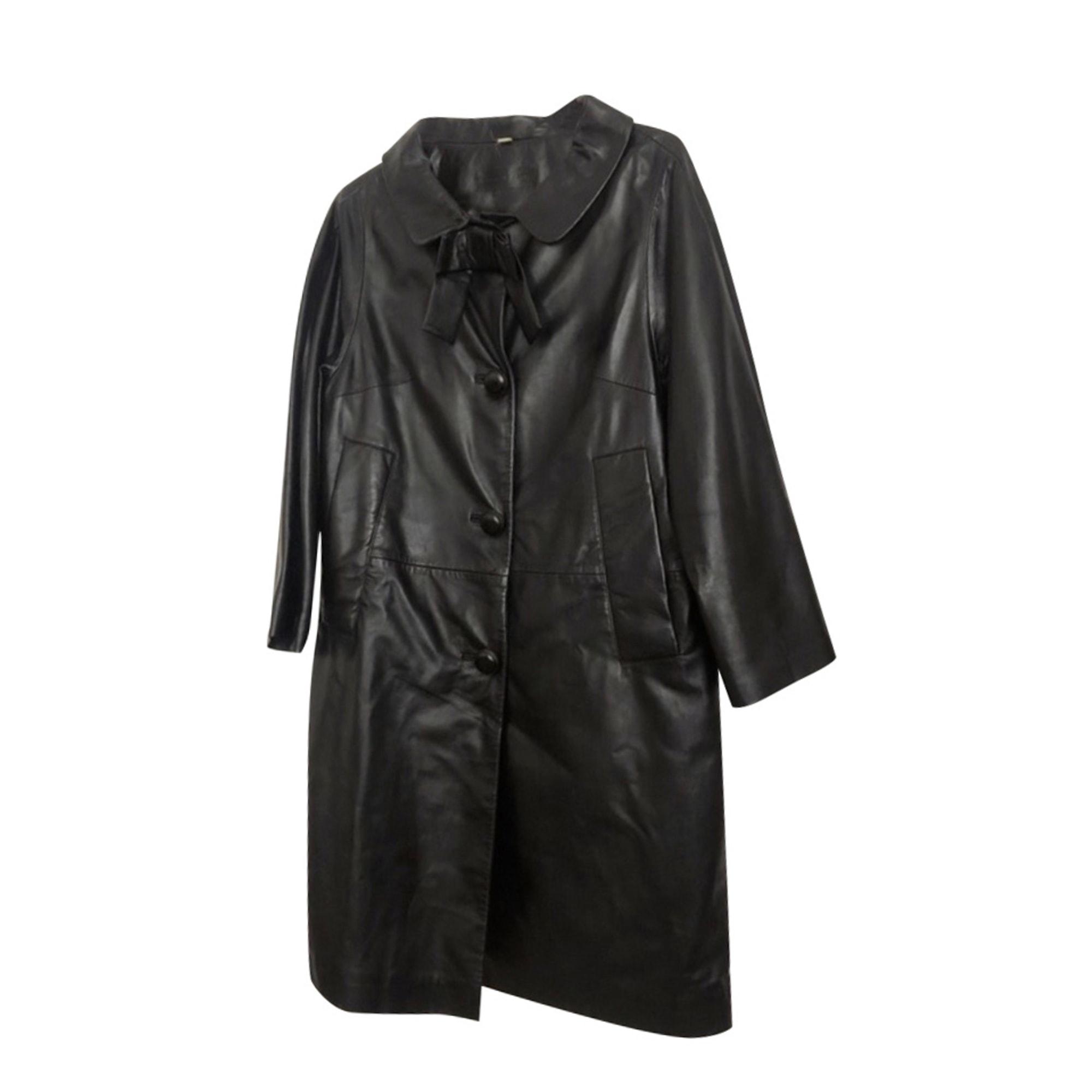 Manteau en cuir MADAME A PARIS Noir