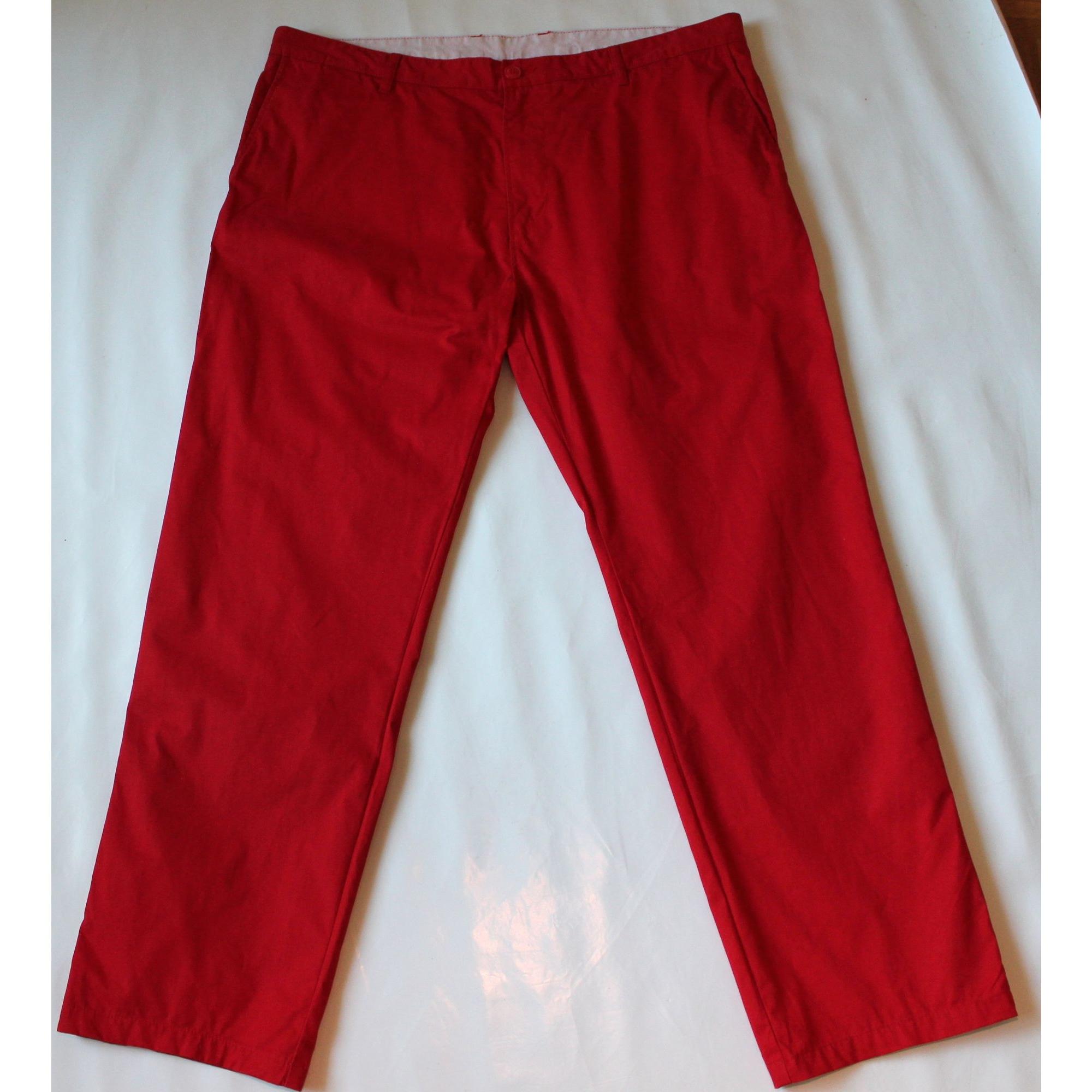 Pantalon droit LACOSTE Rouge, bordeaux