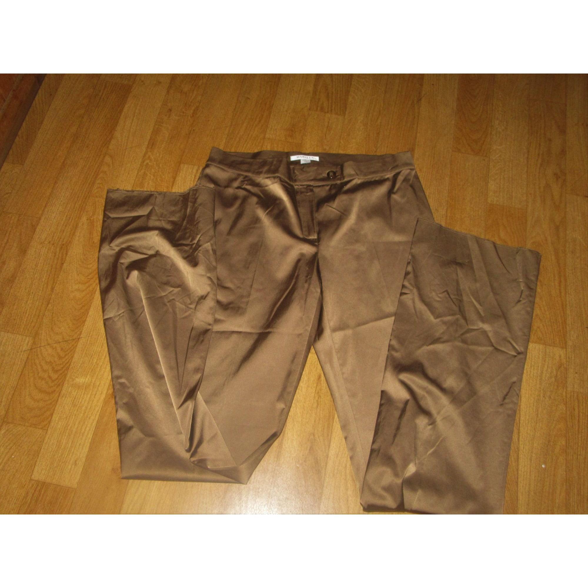 Pantalon droit MARELLA Doré, bronze, cuivre