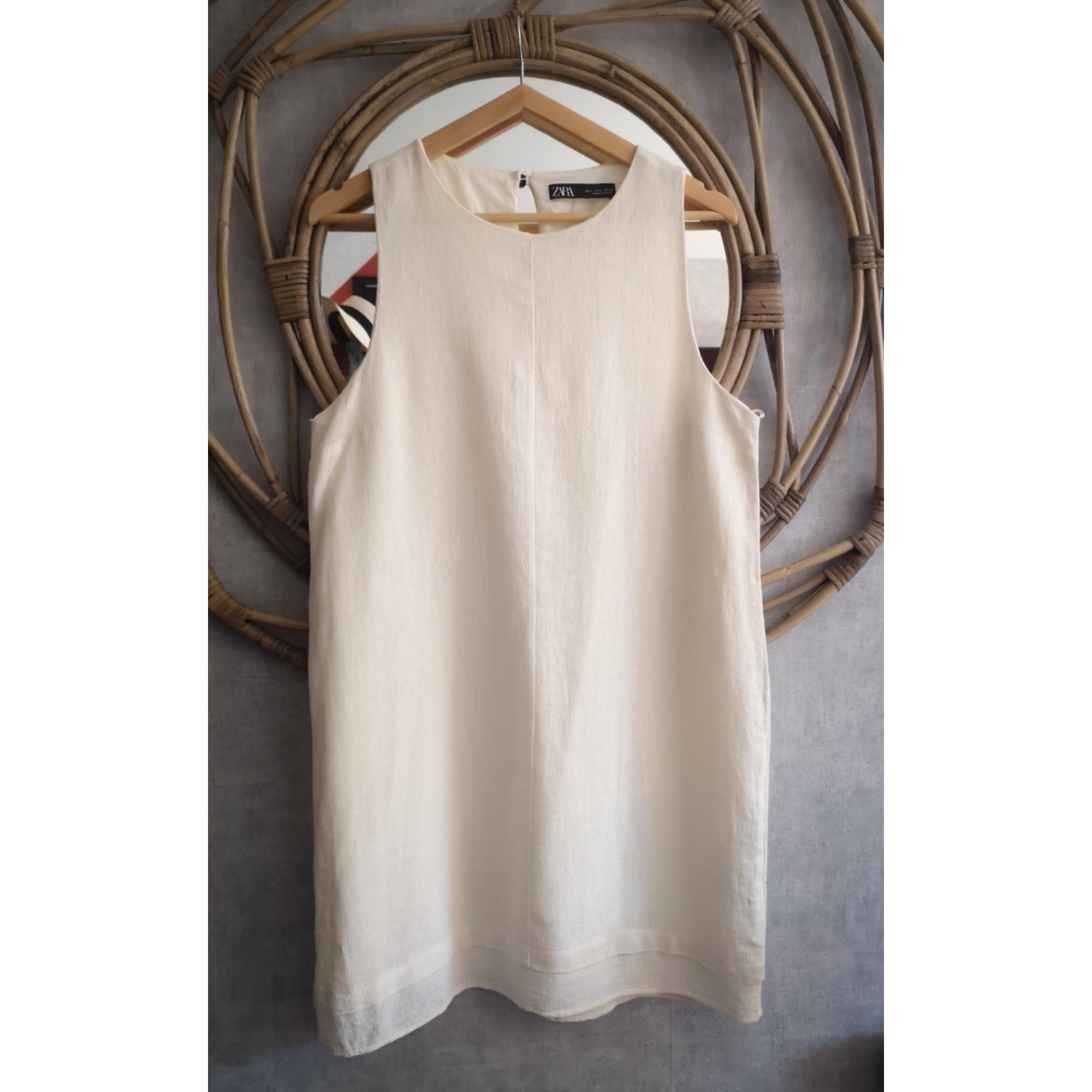 Robe courte ZARA Blanc, blanc cassé, écru